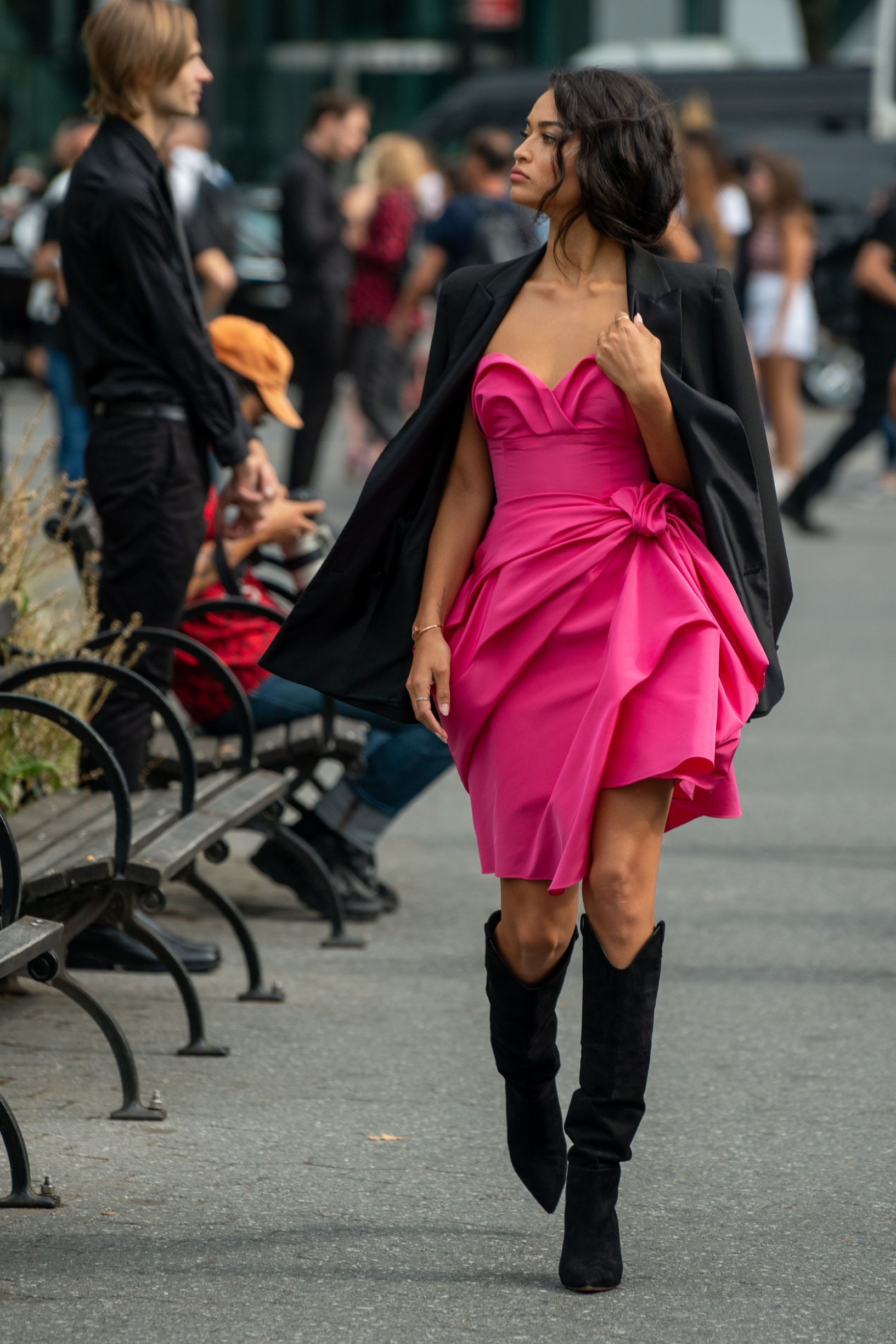 NEW YORK, NEW YORK - SEPTEMBER 09: Shanina Shaik is seen wearing a Carolina Herrera dress outside the Carolina Herrera show during New York Fashion Week S/S20 on September 09, 2019 in New York City. (Photo by David Dee Delgado/Getty Images)