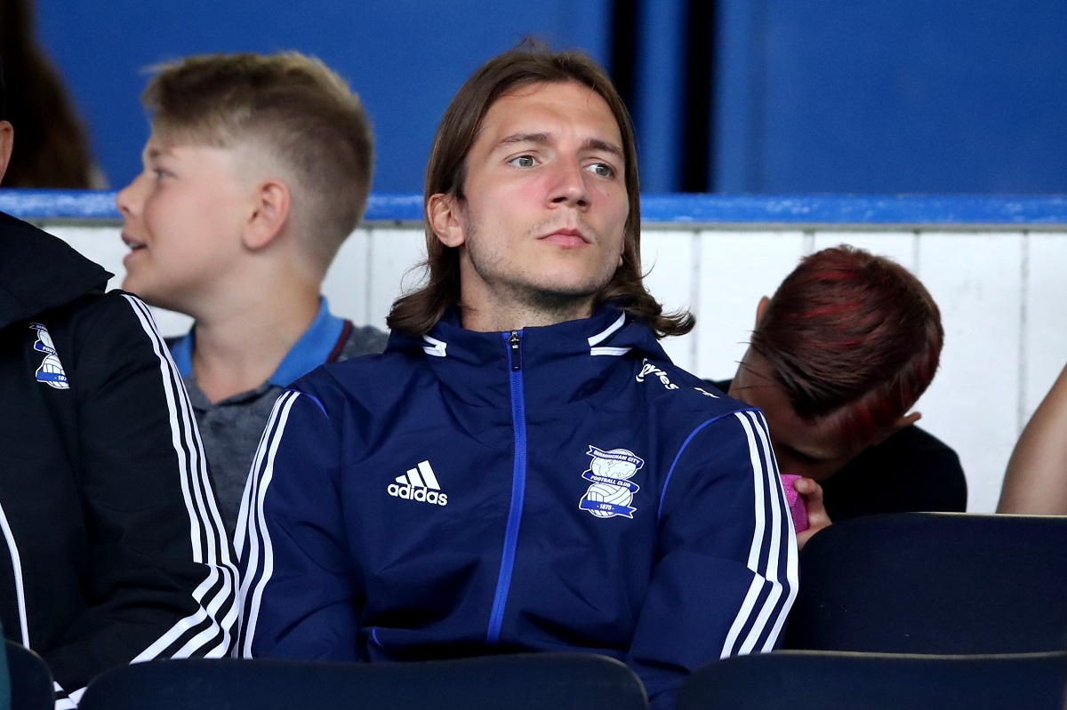 BIRMINGHAM, ENGLAND - JULY 27: Ivan Sunjic of Birmingham City sits in the stands during the Pre-Season Friendly match between Birmingham and Brighton and Hove Albion at St Andrews (stadium) on July 27, 2019 in Birmingham, England. (Photo by Marc Atkins/Getty Images)