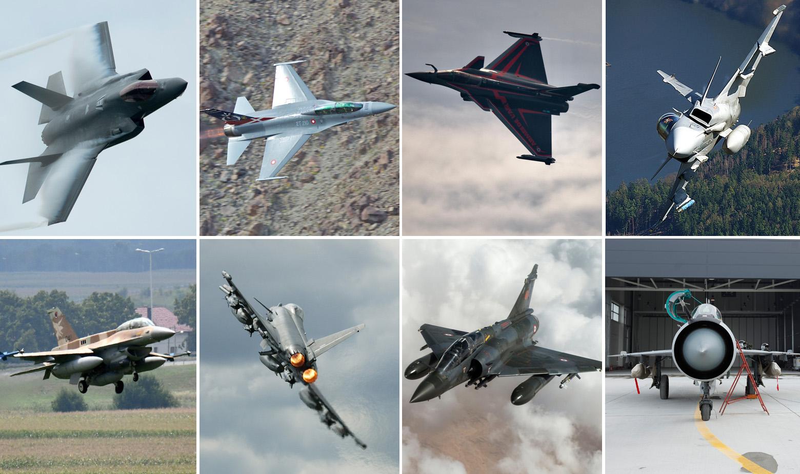 Gore, s lijeva na desno: F-35A, F-16 Zračnih snaga Danske, Dassault Rafale, JAS 39C Gripen; Dolje, s lijeva na desno: F-16 Zračnih snaga Izraela, Eurofighter, Mirage 2000 i MiG 21 HRZ-a