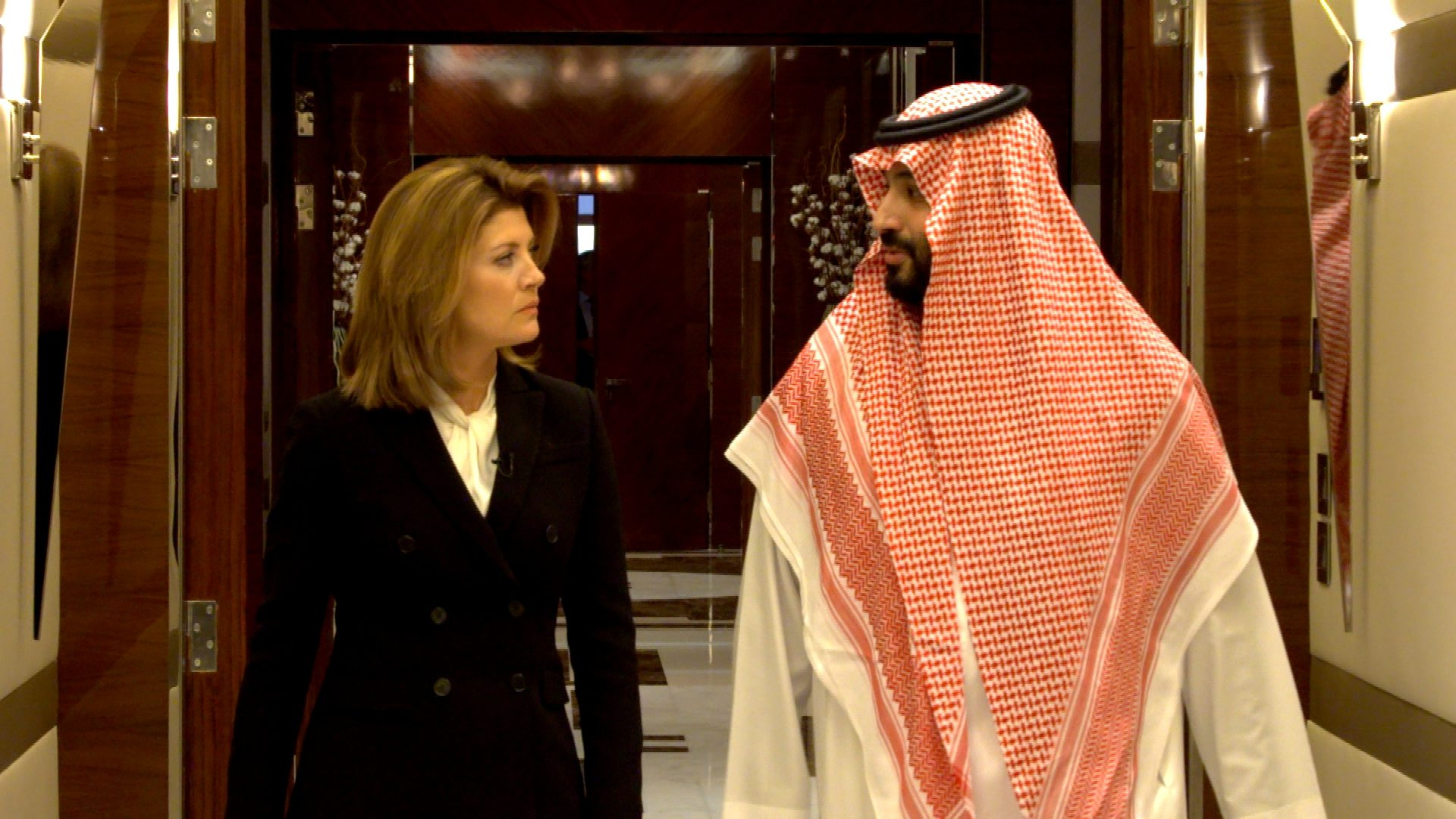 Saudi Arabia's Crown Prince Mohammed bin Salman speaks with correspondent Norah O'Donnell during an interview on Tuesday with the CBS program
