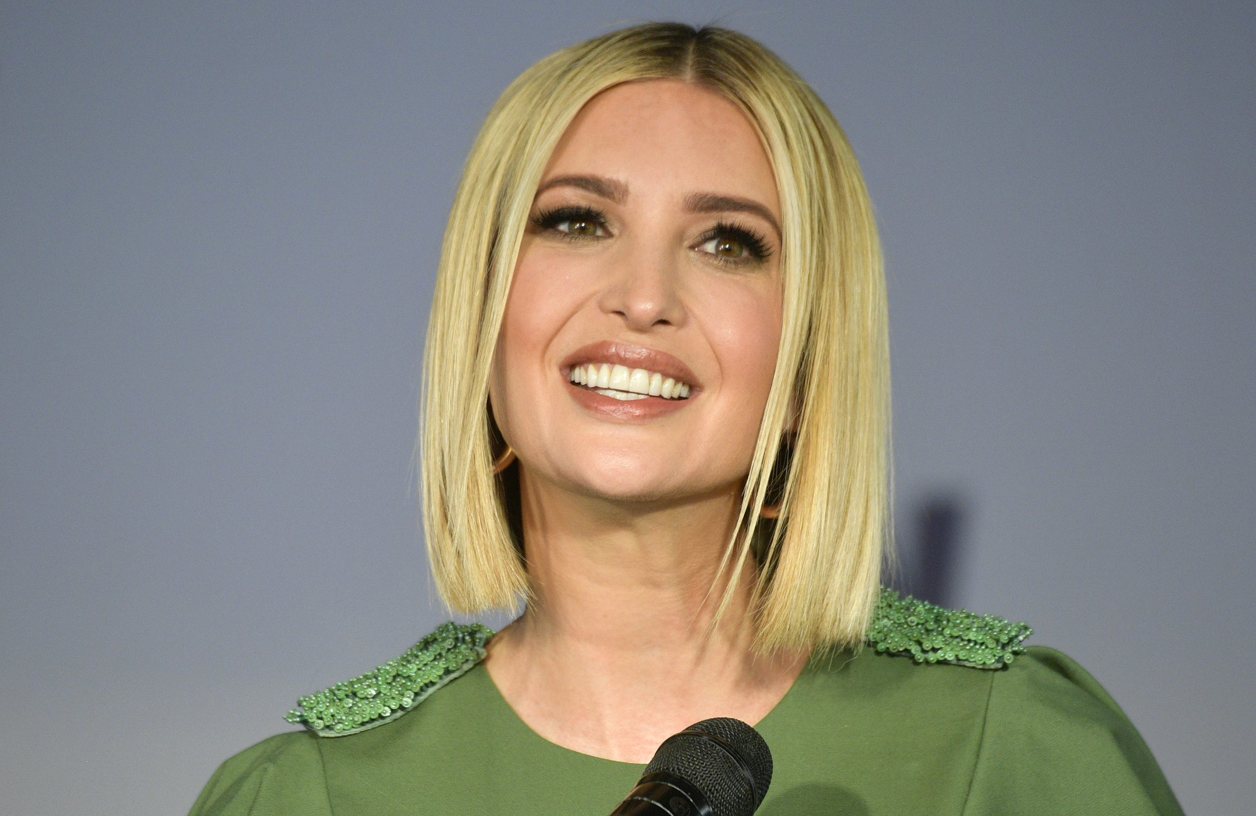Ivanka Trump, advisor and daughter of US President Donald Trump(R), speaks during a ceremony with Colombian women in Bogota on September 3, 2019. Ivanka Trump is visiting Colombia to strengthen trade relations between the two nations and accompany women's empowerment programs., Image: 468944013, License: Rights-managed, Restrictions: , Model Release: no, Credit line: Profimedia, AFP