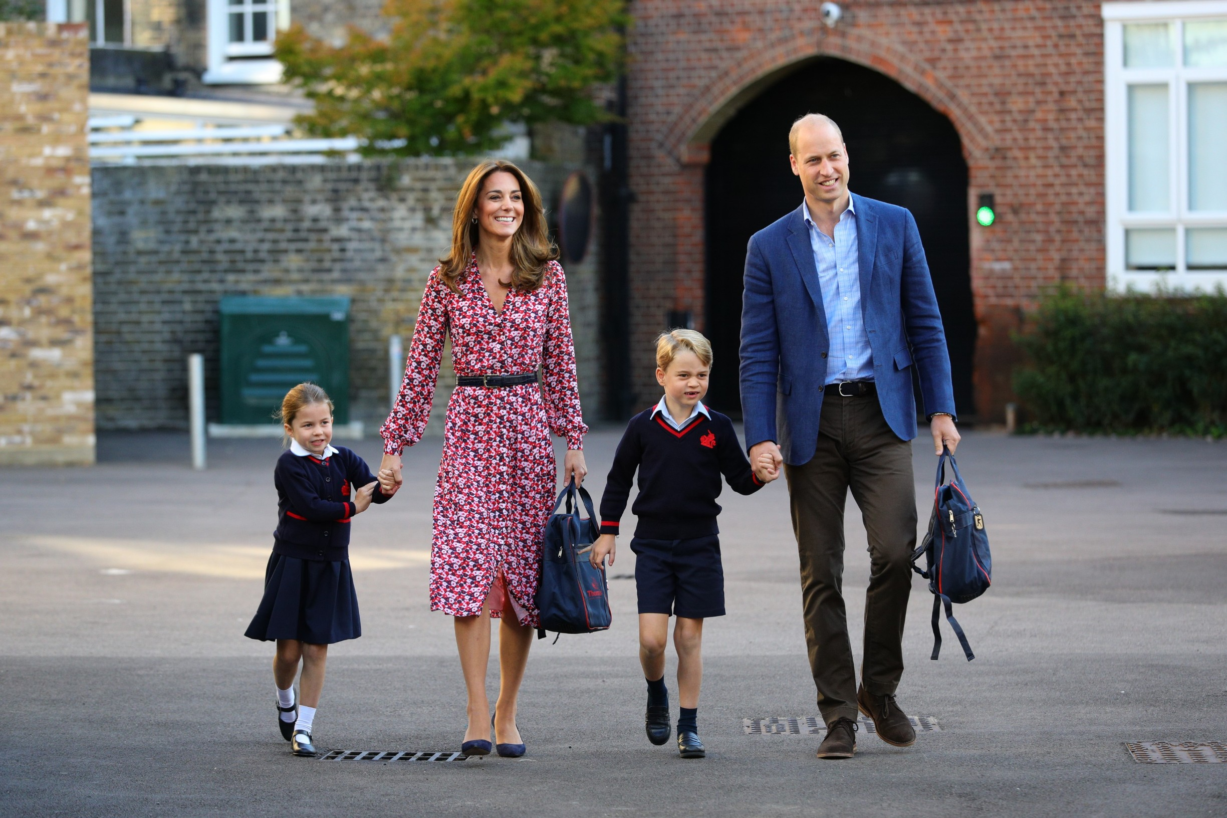 Princess Charlotte arrives for her first day of school, with her brother Prince George and her parents the Duke and Duchess of Cambridge, at Thomas's Battersea in London., Image: 469230212, License: Rights-managed, Restrictions: , Model Release: no, Credit line: Profimedia, Press Association