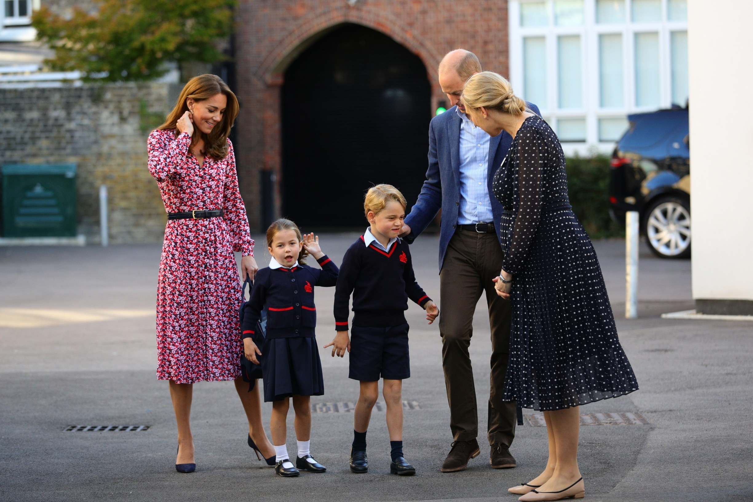Helen Haslem (right) , head of the lower school greets Princess Charlotte as she arrives for her first day of school at Thomas's Battersea in London, accompanied by her brother Prince George and her parents the Duke and Duchess of Cambridge., Image: 469232757, License: Rights-managed, Restrictions: , Model Release: no, Credit line: Profimedia, Press Association