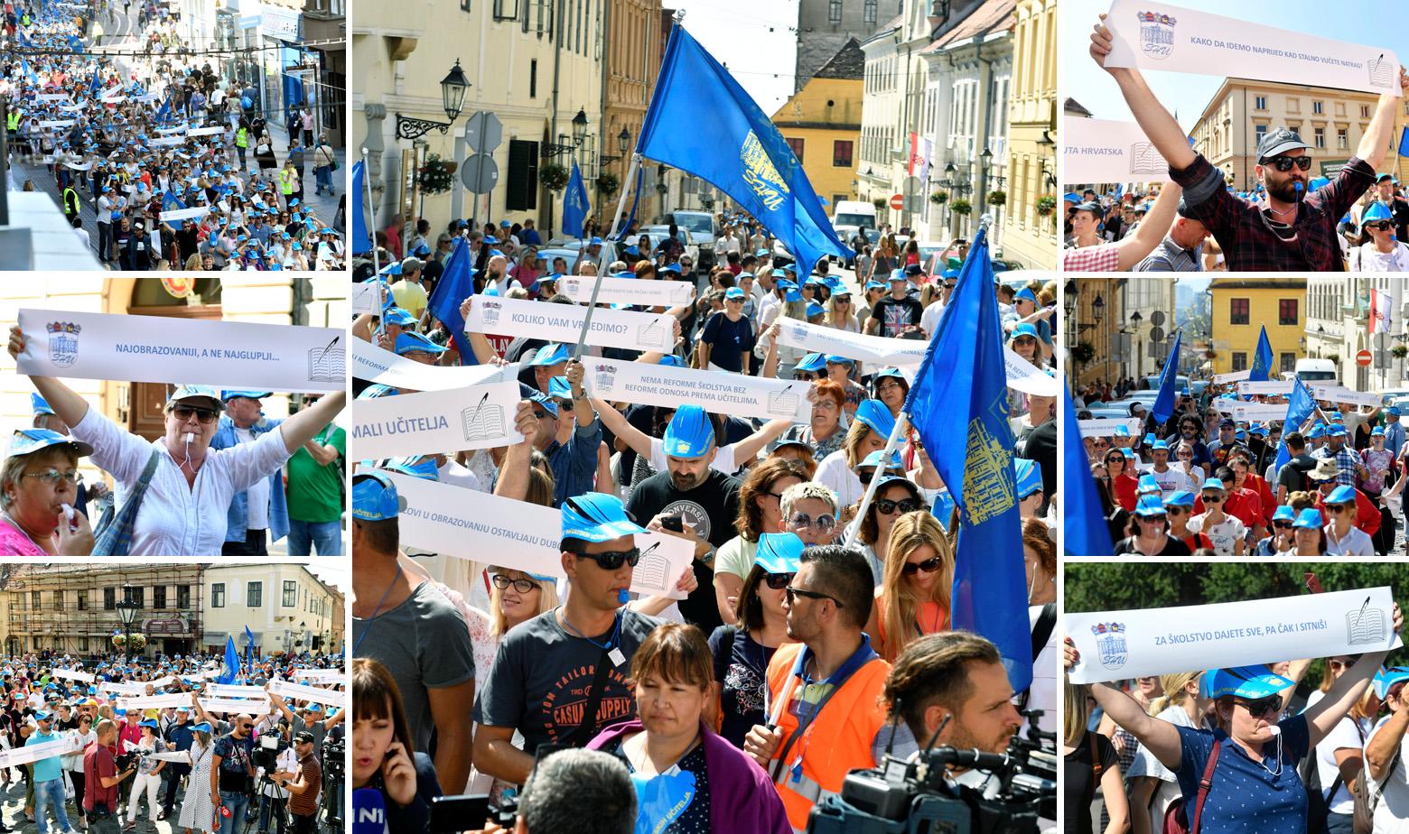 Masovni prosvjed prosvjetnih radnika u Zagrebu