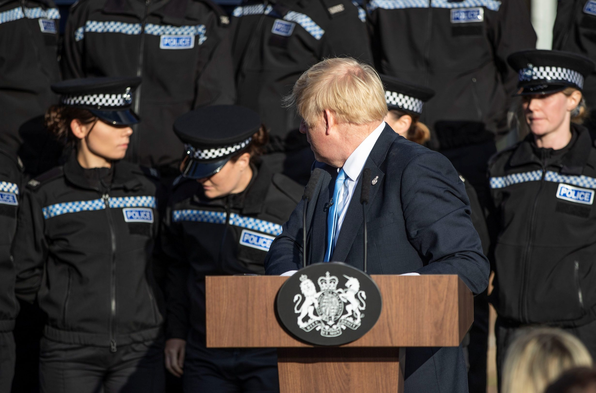 Britain's Prime Minister Boris Johnson reacts after student officer needed to sit down as he made a speech during a visit to West Yorkshire, Britain September 5, 2019. Danny Lawson/PA Wire/Pool via REUTERS