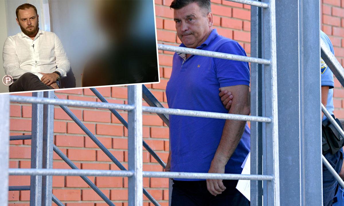reporter Provjerenog Ivan Čorkalo u razgovoru sa ženom koja optužuje Damira Škaru (gore lijevo), privođenje Damira Škare (na glavnoj fotografiji)