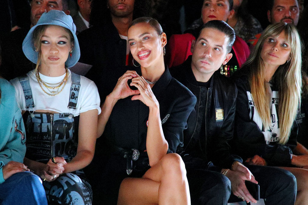 NEW YORK, NEW YORK - SEPTEMBER 06: Gigi Hadid, Irina Shayk, G-Eazy, and Heidi Klum attend the Jeremy Scott front row during New York Fashion Week: The Shows at Gallery I at Spring Studios on September 06, 2019 in New York City. (Photo by Astrid Stawiarz/Getty Images for NYFW: The Shows)