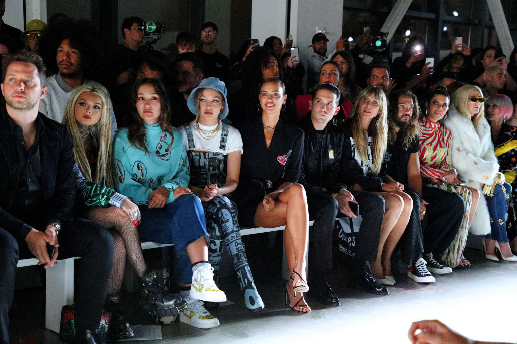 NEW YORK, NEW YORK - SEPTEMBER 06: Zhavia Ward, Gigi Hadid, Irina Shayk, G-Eazy, Heidi Klum, and Tom Kaulitz attend the Jeremy Scott front row during New York Fashion Week: The Shows at Gallery I at Spring Studios on September 06, 2019 in New York City. (Photo by Astrid Stawiarz/Getty Images for NYFW: The Shows)