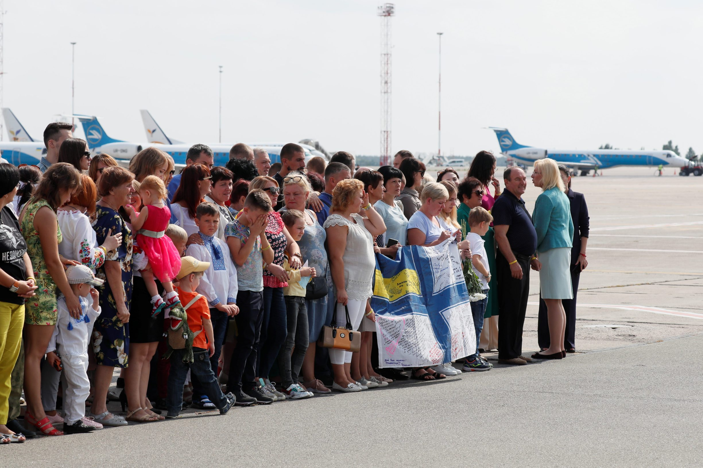 Relatives of Ukrainian prisoners, included in the Russia-Ukraine prisoner swap, wait for their arrival at Borispil International Airport outside Kiev, Ukraine September 7, 2019. REUTERS/Gleb Garanich