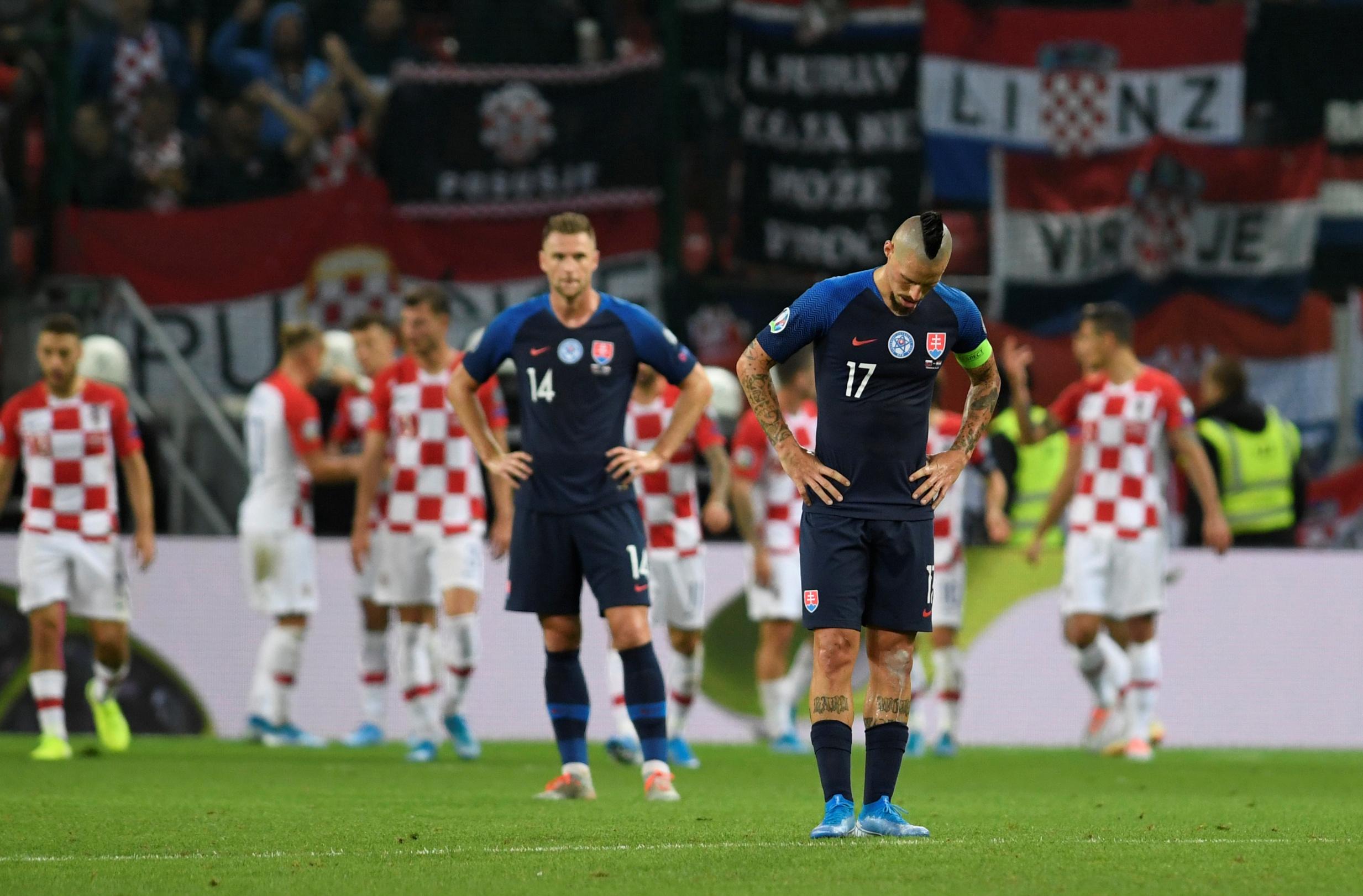 Soccer Football - Euro 2020 Qualifier - Group E - Slovakia v Croatia - City Arena, Trnava, Slovakia - September 6, 2019  Slovakia's Marek Hamsik looks dejected after Croatia's third goal      REUTERS/Radovan Stoklasa - RC1C0E0EB2E0