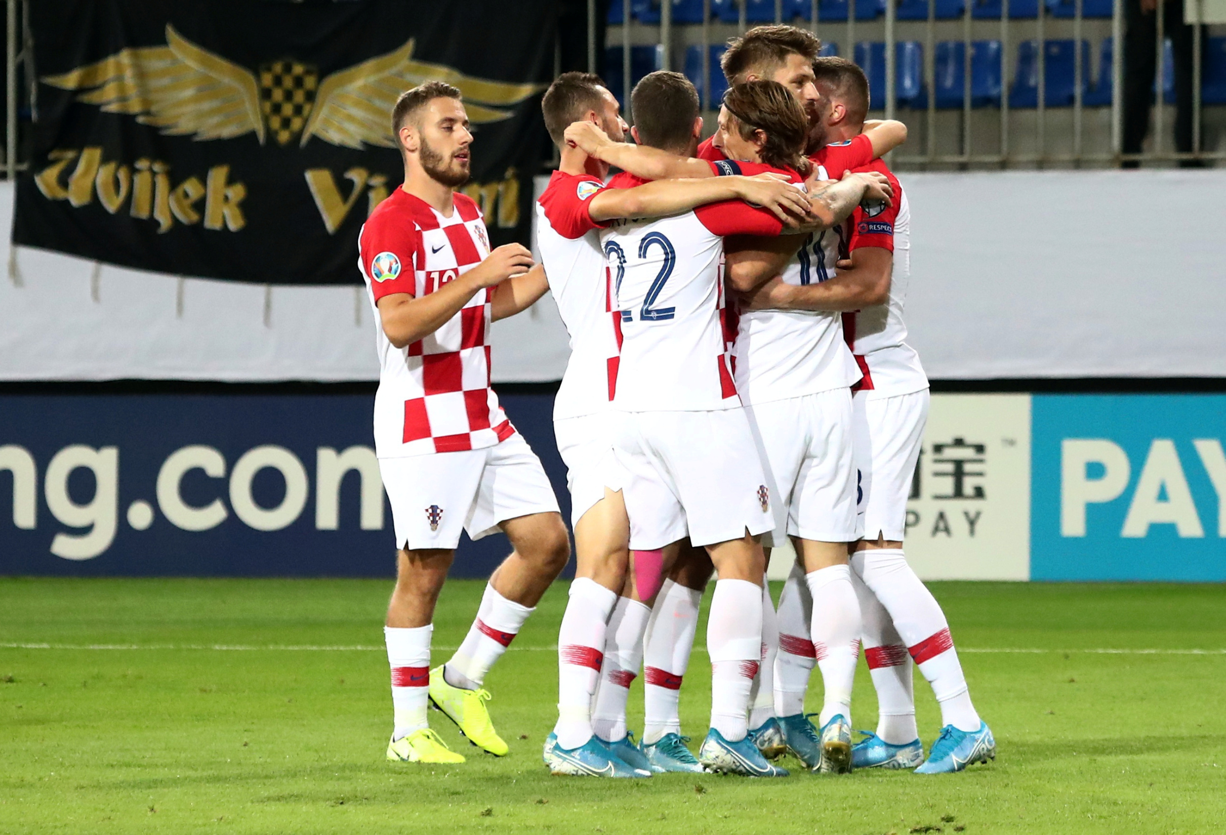 Soccer Football - Euro 2020 Qualifier - Group E - Azerbaijan v Croatia - Bakcell Arena, Baku, Azerbaijan - September 9, 2019  Croatia's Luka Modric celebrates scoring their first goal with team mates   REUTERS/Aziz Karimov - RC115FE5B400