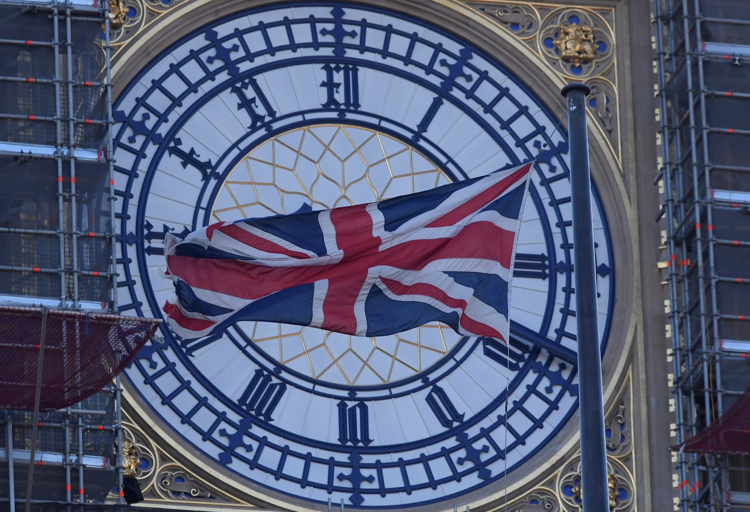 A face of the Big Ben clock tower is seen a day before New Year celebrations, during which the bells of Big Ben will chime at midnight, despite otherwise being silent for the duration of the restoration works currently being undertaken at The Houses of Parliament, London, Britain December 30, 2019. REUTERS/Toby Melville