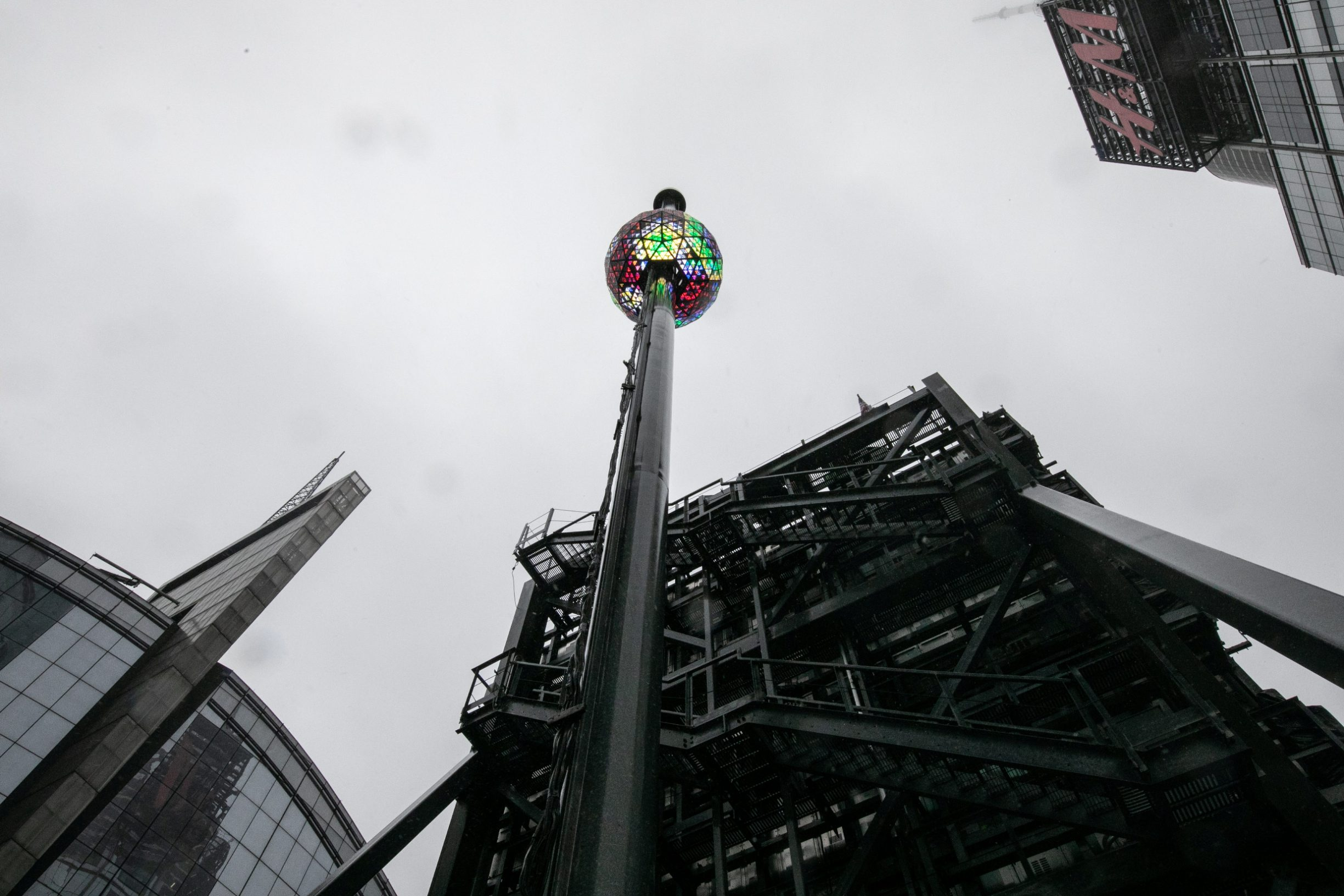 New Year's Eve ball is seen at the roof of One Times Square building during the New Year's Eve Ball test, before the official New Year Celebration at Times Square, Manhattan, New York, U.S., December 30, 2019. REUTERS/Jeenah Moon