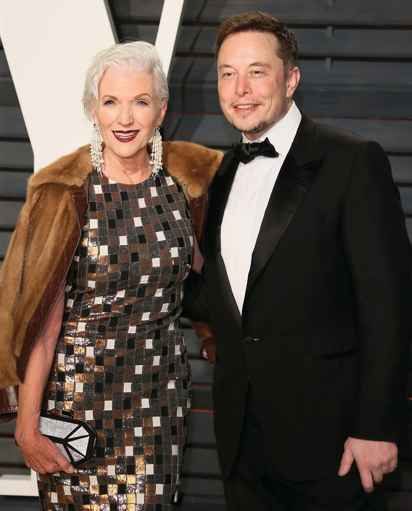 BEVERLY HILLS, CA - FEBRUARY 26: Maye Musk and Elon Musk attend the 2017 Vanity Fair Oscar Party hosted by Graydon Carter at Wallis Annenberg Center for the Performing Arts on February 26, 2017 in Beverly Hills, California. (Photo by JB Lacroix/WireImage)