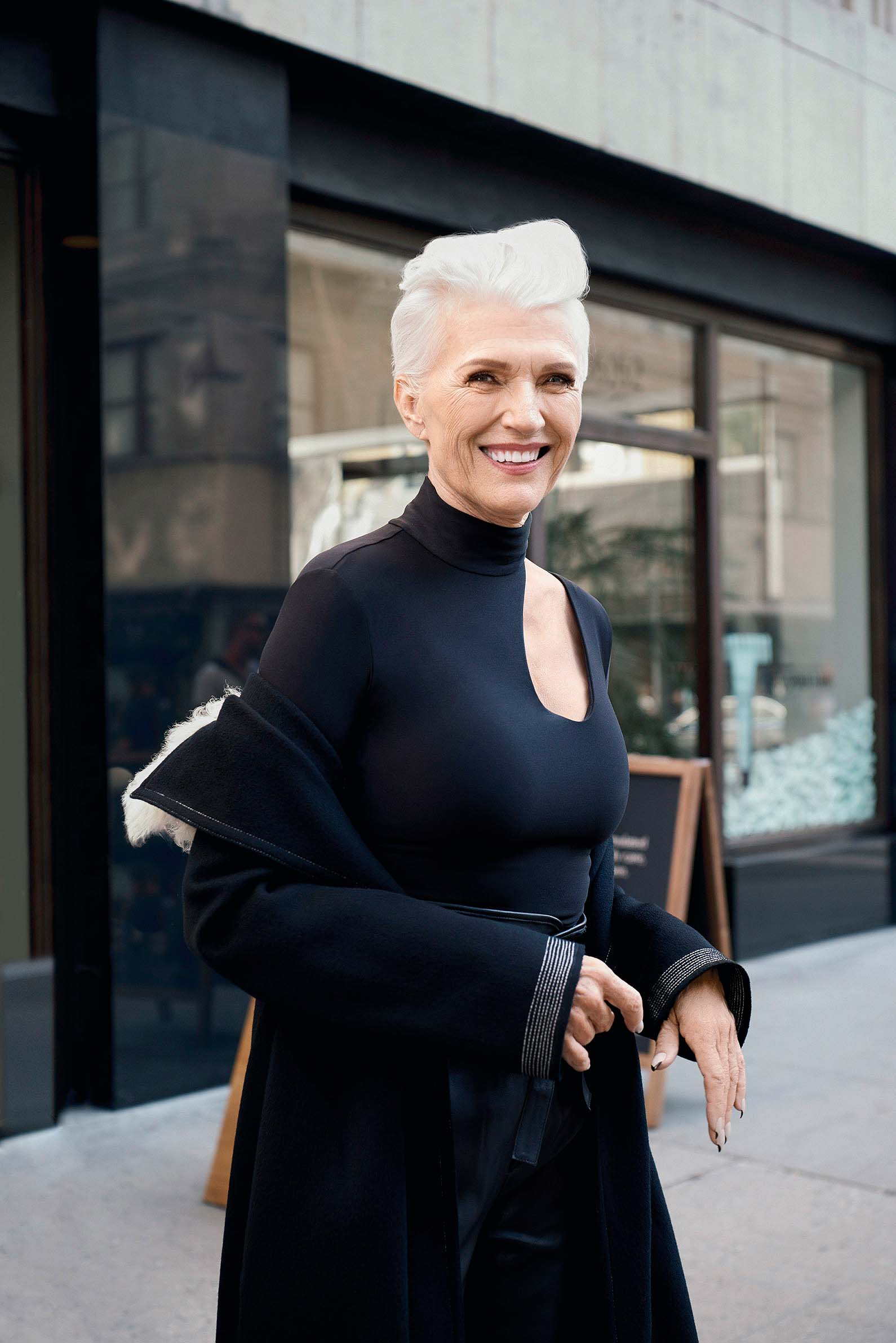Elon Musk's mother is the new face of CoverGirl. The elegant 69-year-old sports an all-black ensemble with an edgy cropped hairdo for the beauty campaign.
