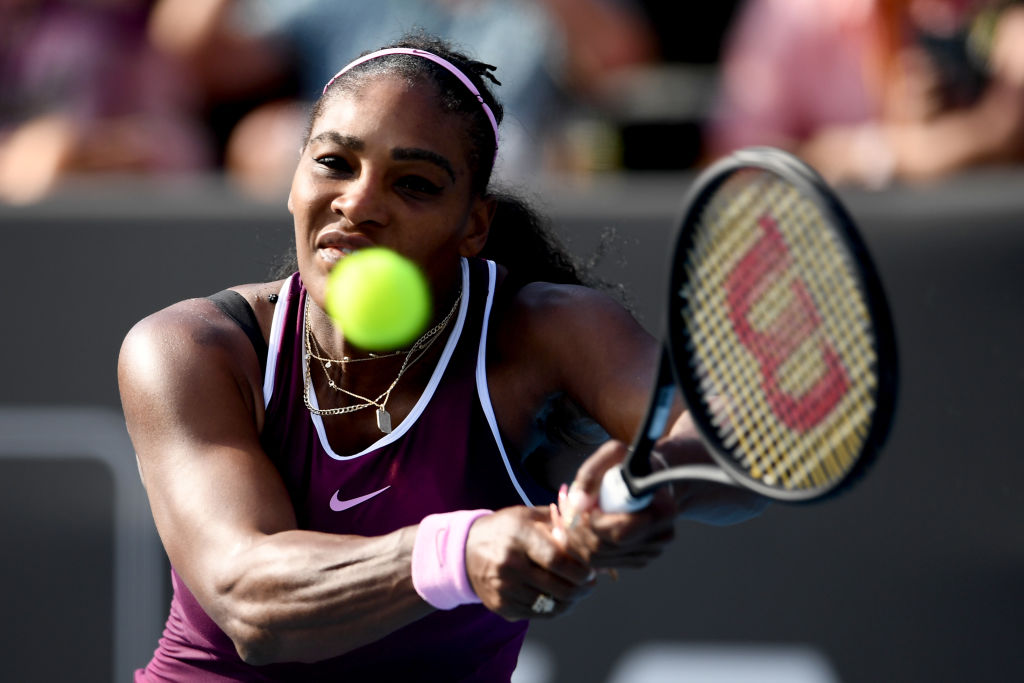 AUCKLAND, NEW ZEALAND - JANUARY 11:  Serena Williams of the USA plays a backhand in her semifinal against Amanda Anisimova of the USA during day six of the 2020 Women's ASB Classic at ASB Tennis Centre on January 11, 2020 in Auckland, New Zealand. (Photo by Hannah Peters/Getty Images)
