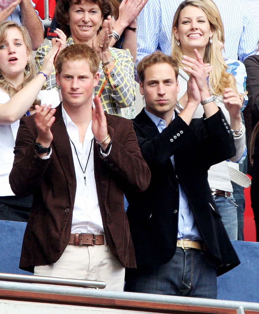 LONDON - JULY 01:  Their Royal Highnesses Prince William (R) and Prince Harry (L) watch the Concert for Diana at Wembley Stadium on July 1, 2007 in London, England. The Concert falls on the date that would have been the late Princess's 46th birthday and marks 10 years since her death with an event headed by Princes William and Harry to celebrate her life.  (Photo by Getty Images/Getty Images)