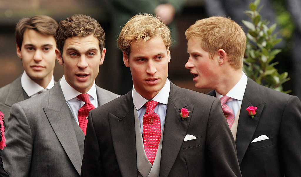 CHESTER, ENGLAND - NOVEMBER 6:  Princes Harry (R) and William (2nd from R) leave Chester Cathedral after the wedding of Lady Tamara Grovesnor on November 6, 2004 in Chester, England. Lady Tamara is the eldest daughter  of The Duke and Duchess of Westminster and Edward van Cutsem - a good friend of Prince William - is the eldest son of the van Custem's. Van Cutsem, 30, famously accompanied Prince William on his travels to South Africa in 2000, and his parents are close friends of The Prince Of Wales.  (Photo by Gareth Cattermole/Getty Images)