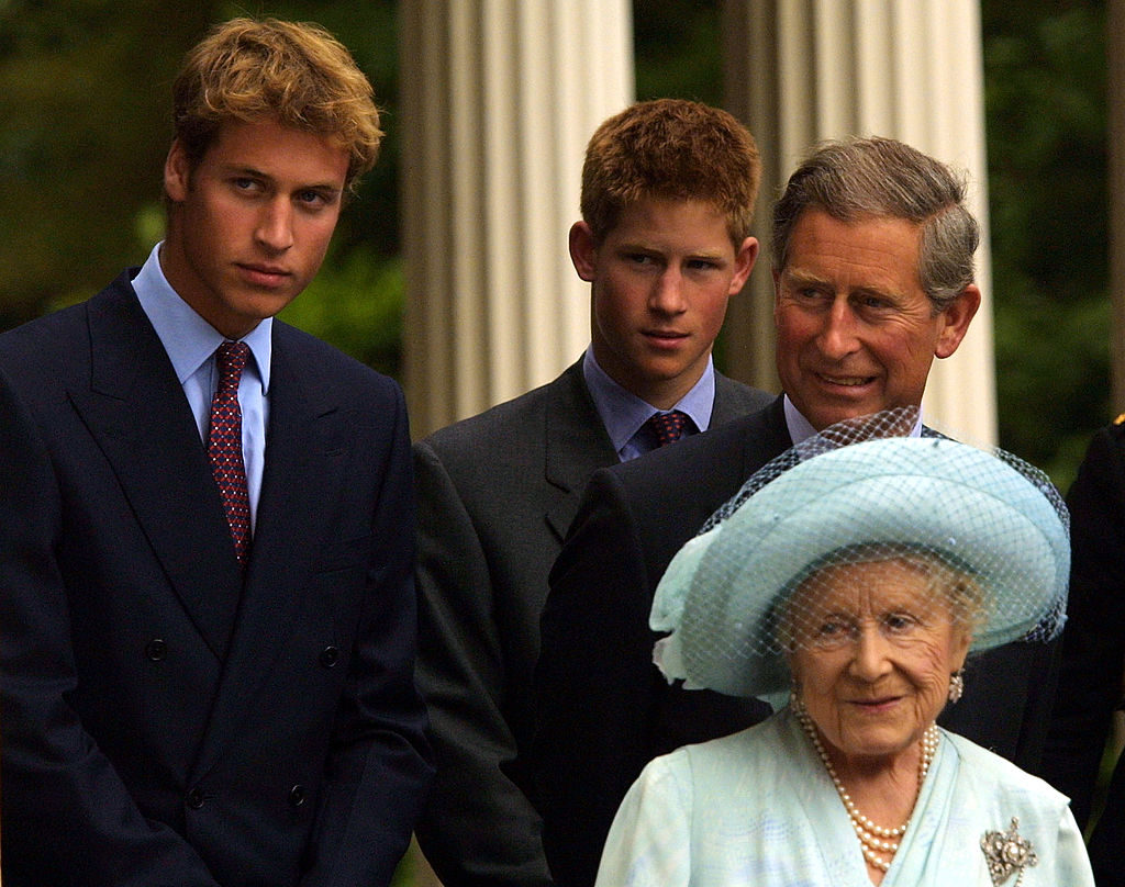 392853 17: Princes William and Harry and Prince Charles appear with The Queen Mother during celebrations to mark her 101st birthday August 4, 2001 in London. (Photo by Sion Touhig/Getty Images)