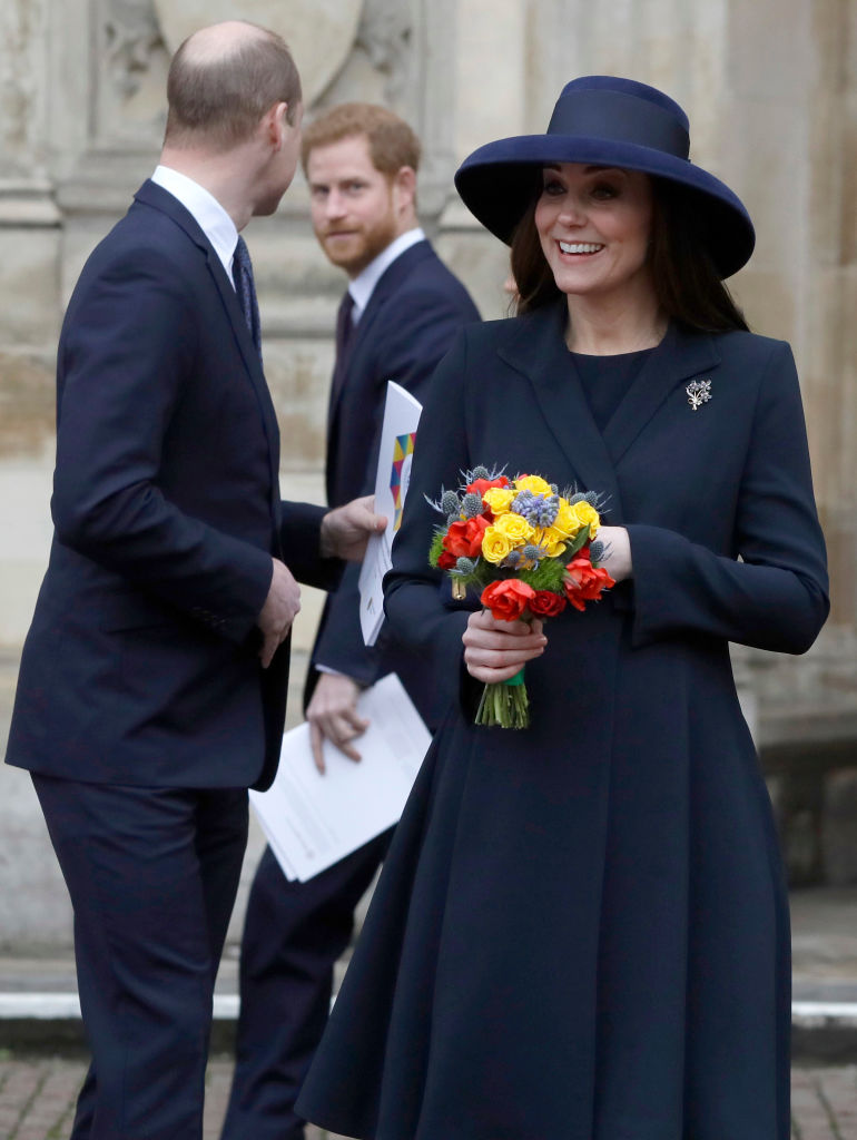 LONDON, UNITED KINGDOM - MARCH 12: Prince William, Duke of Cambridge and Catherine, Duchess of Cambridge with Prince Harry leave after attending the Commonwealth Service at Westminster Abbey on March 12, 2018 in London, England. Organised by The Royal Commonwealth Society, the Commonwealth Service is the largest annual inter-faith gathering in the United Kingdom. (Photo by Kirsty Wigglesworth - Pool/Getty Images)