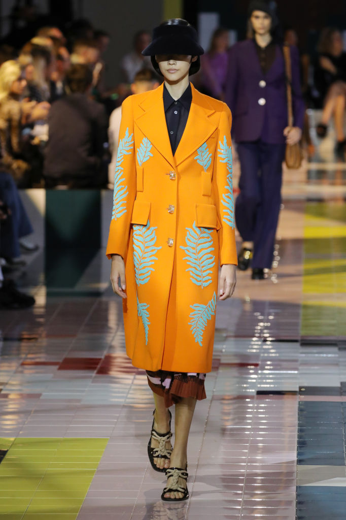 MILAN, ITALY - SEPTEMBER 18: A model walks the runway at the Prada show during the Milan Fashion Week Spring/Summer 2020 on September 18, 2019 in Milan, Italy. (Photo by Andreas Rentz/Getty Images)