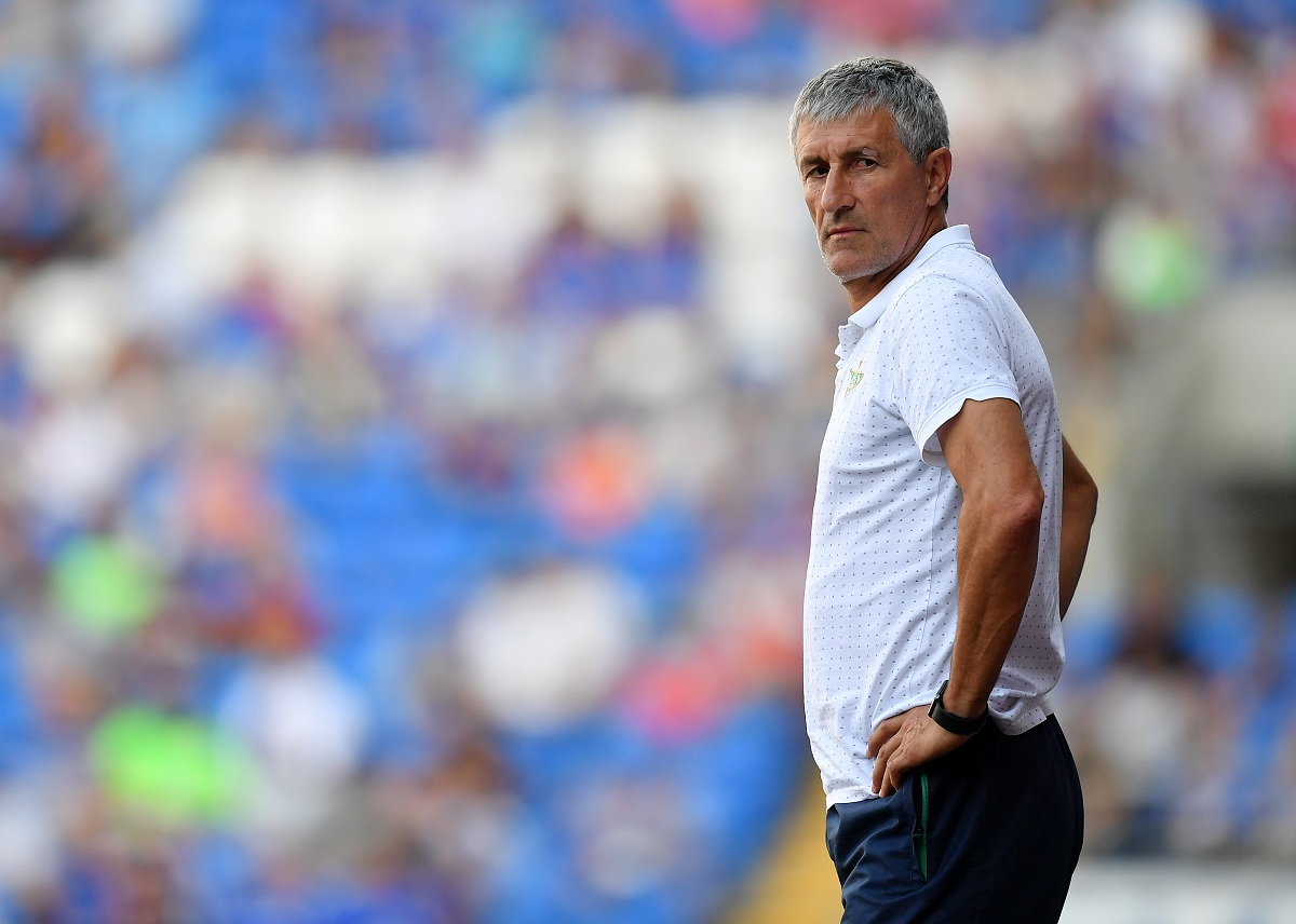 CARDIFF, WALES - AUGUST 04:  Quique Setien, Manager of Real Betis looks on during the Pre-Season Friendly match between Cardiff City and Real Betis at Cardiff City Stadium on August 4, 2018 in Cardiff, Wales. (Photo by Dan Mullan/Getty Images)