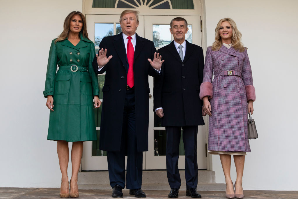 WASHINGTON, DC - MARCH 07: (AFP OUT) U.S. President Donald Trump and First Lady Melania Trump pose for a photo with the Prime Minister of the Czech Republic Andrej Babi and his wife Monika Babiová as they arrive at the White House in Washington, D.C. on March 7, 2019. (Photo by Alex Edelman - Pool/Getty Images)