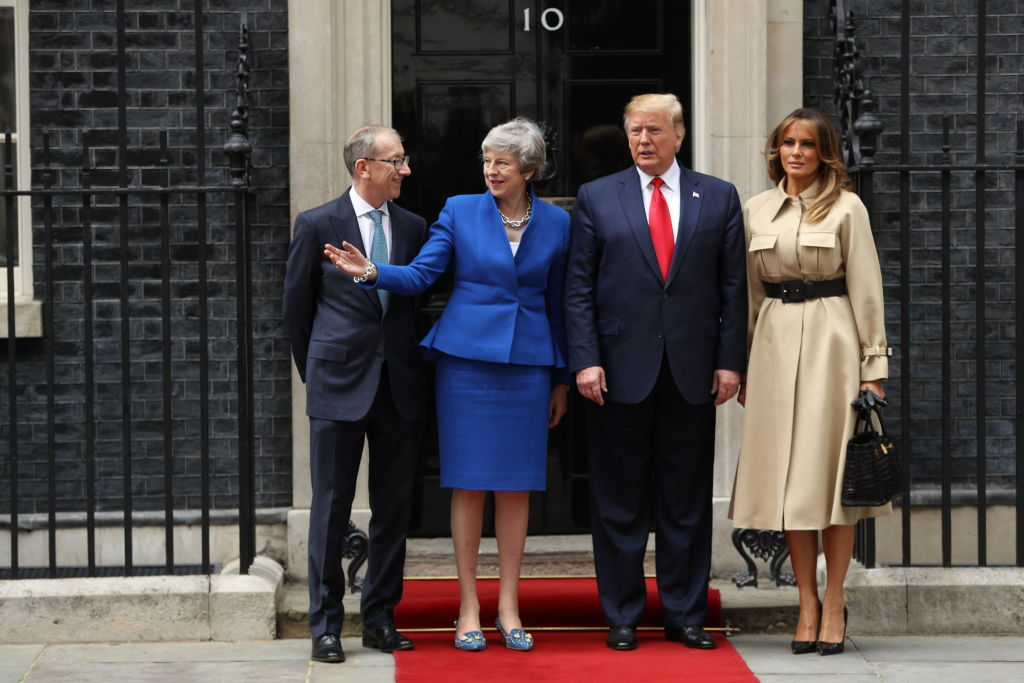 LONDON, ENGLAND - JUNE 04: (L-R) Philip May, British Prime Minister Theresa May, US President Donald Trump and First Lady Melania Trump arrive at 10 Downing street for a meeting on the second day of the U.S. President and First Lady's three-day State visit on June 4, 2019 in London, England. President Trump's three-day state visit began with lunch with the Queen, followed by a State Banquet at Buckingham Palace, whilst today he will attend business meetings with the Prime Minister and the Duke of York, before travelling to Portsmouth to mark the 75th anniversary of the D-Day landings.(Photo by Dan Kitwood/Getty Images)