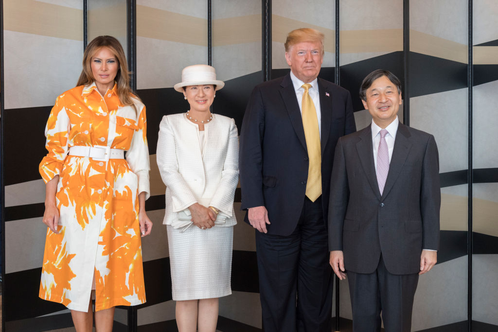TOKYO, JAPAN - MAY 28: (IMPERIAL HOUSEHOLD AGENCY HANDOUT/EDITORIAL USE ONLY/NO SALES/NO COMMERCIAL USE/NO MODIFICATION INCLUDING TRIMMING/MANDATORY CREDIT) In this handout image provided by Imperial Household Agency,  Japanese Emperor Naruhito, U.S. President Donald Trump, Empress Masako and first lady Melania Trump on May 28, 2019 in Tokyo, Japan. (Photo by Imperial Household Agency of Japan via Getty Images)