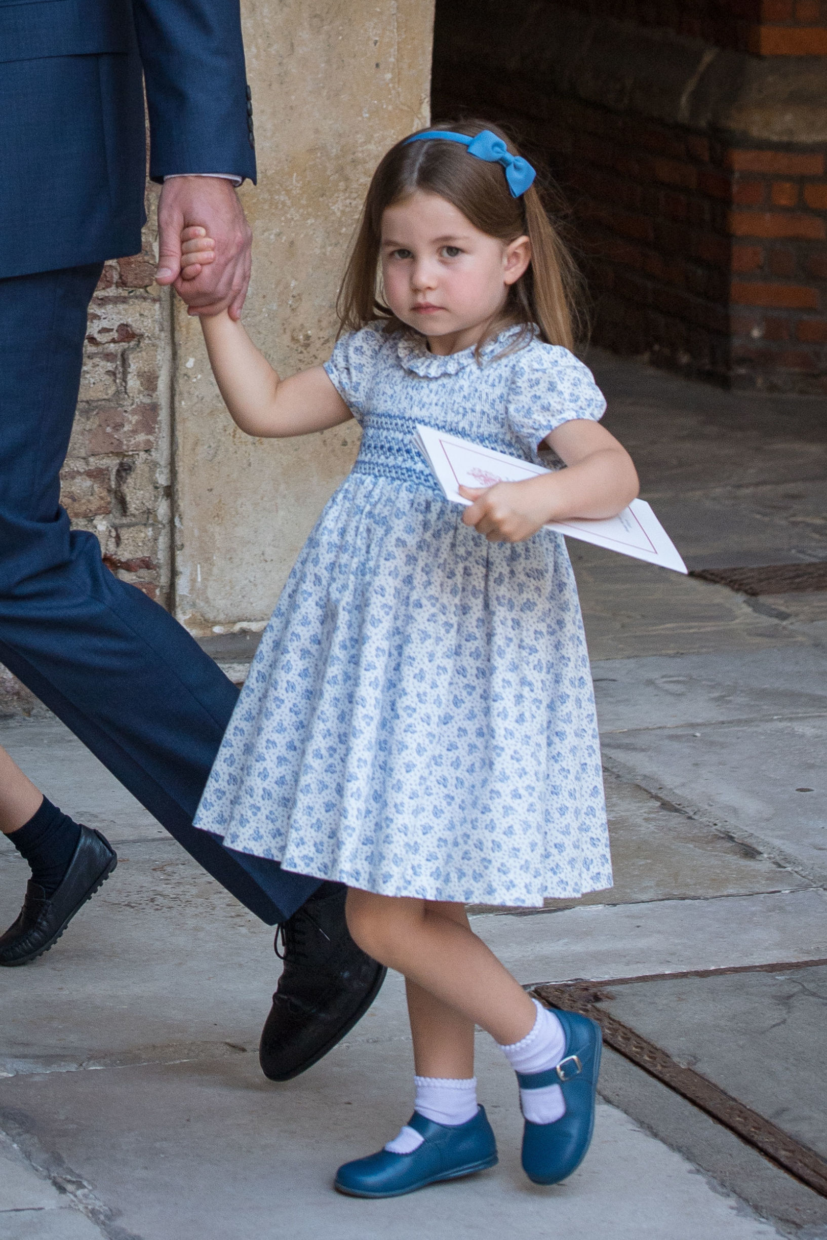 LONDON, ENGLAND - JULY 09:  Princess Charlotte of Cambridge leaves after Prince Louis of Cambridge's christening at the Chapel Royal, St James's Palace, London on July 09, 2018 in London, England. (Photo by Dominic Lipinski - WPA Pool/Getty Images)