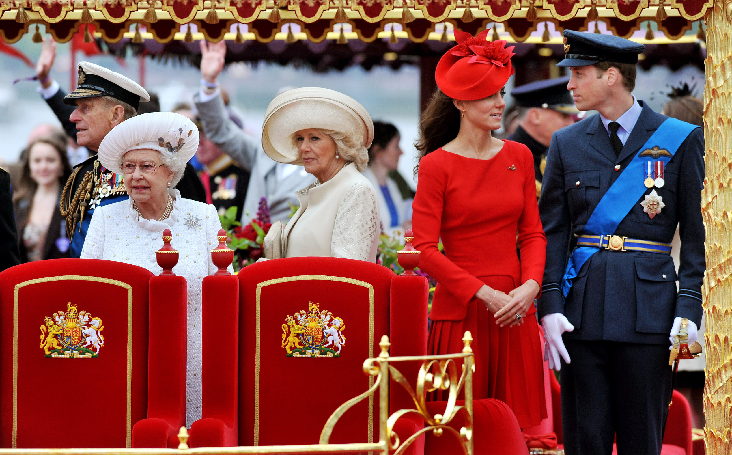 LONDON, ENGLAND - JUNE 03: (L-R) Prince Philip, The Duke of Edinburgh, Queen Elizabeth II, Camilla, Duchess of Cornwall, Catherine, Duchess of Cambridge and Prince William, Duke of Cambridge onboard the Spirit of Chartwell during the Diamond Jubilee Pageant on the River Thames during the Diamond Jubilee Thames River Pageant on June 3, 2012 in London, England. For only the second time in its history the UK celebrates the Diamond Jubilee of a monarch. Her Majesty Queen Elizabeth II celebrates the 60th anniversary of her ascension to the throne. Thousands of well-wishers from around the world have flocked to London to witness the spectacle of the weekend's celebrations. The Queen along with all members of the royal family will participate in a River Pageant with a flotilla of a 1,000 boats accompanying them down The Thames, the star studded free concert at Buckingham Palace, and a carriage procession and a service of thanksgiving at St Paul's Cathedral.  (Photo by John Stillwell - WPA Pool/Getty Images)