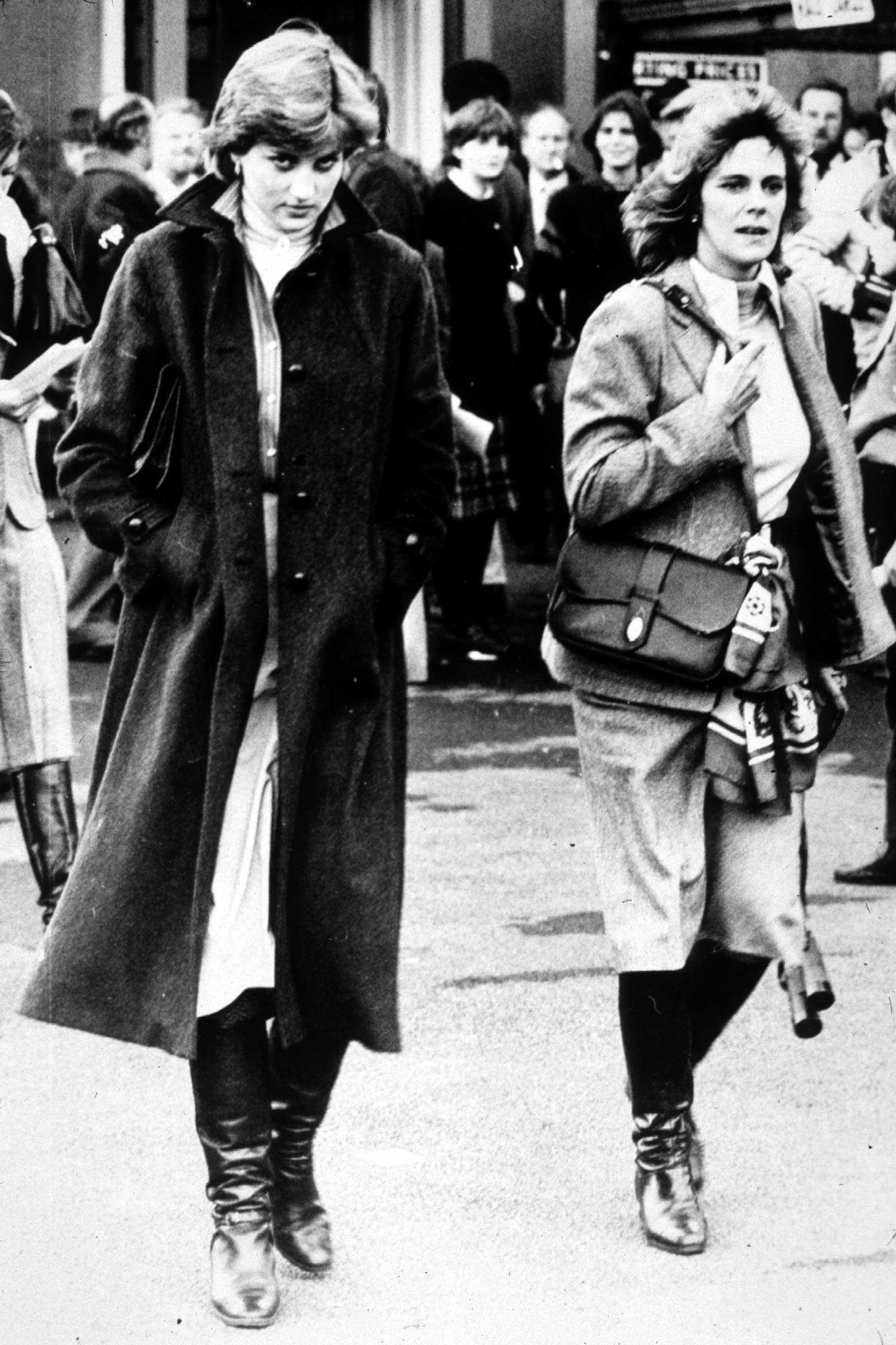 Lady Diana Spencer and Camilla Parker-Bowles at Ludlow Races where Prince Charles is competing, 1980. (Photo by Express Newspapers/Archive Photos)