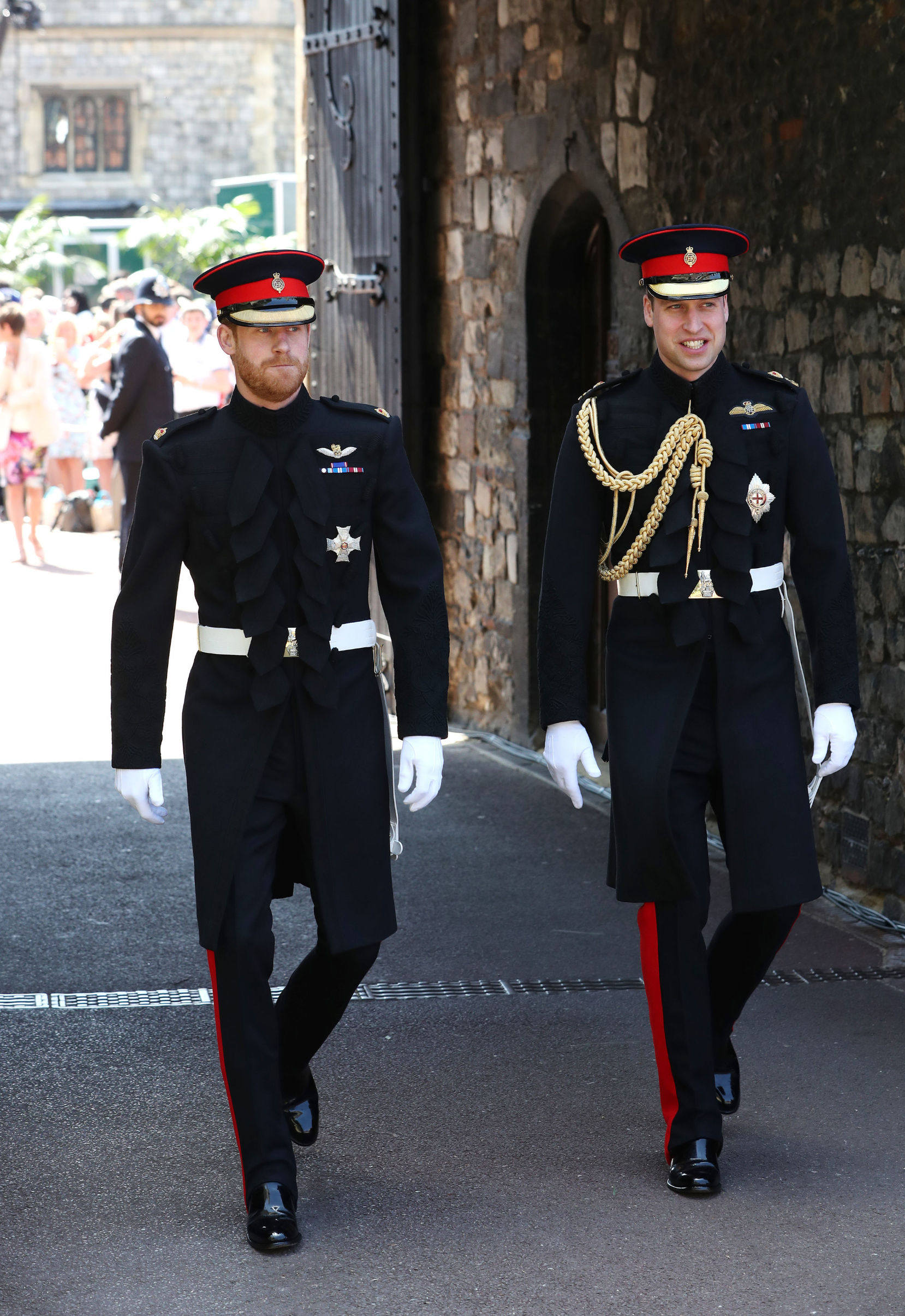WINDSOR, UNITED KINGDOM - MAY 19:  Prince Harry (left) walks with his best man, Prince William Duke of Cambridge, as he arrives at St George's Chapel at Windsor Castle for his wedding to Meghan Markle, on May 19, 2018 in Windsor, England. (Photo by Brian Lawless - WPA Pool/Getty Images)