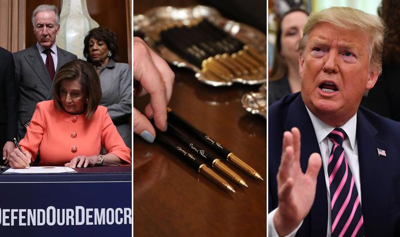Nancy Pelosi potpisuje optužnicu; olovke koje je koristila za potpisivanje; Donald Trump