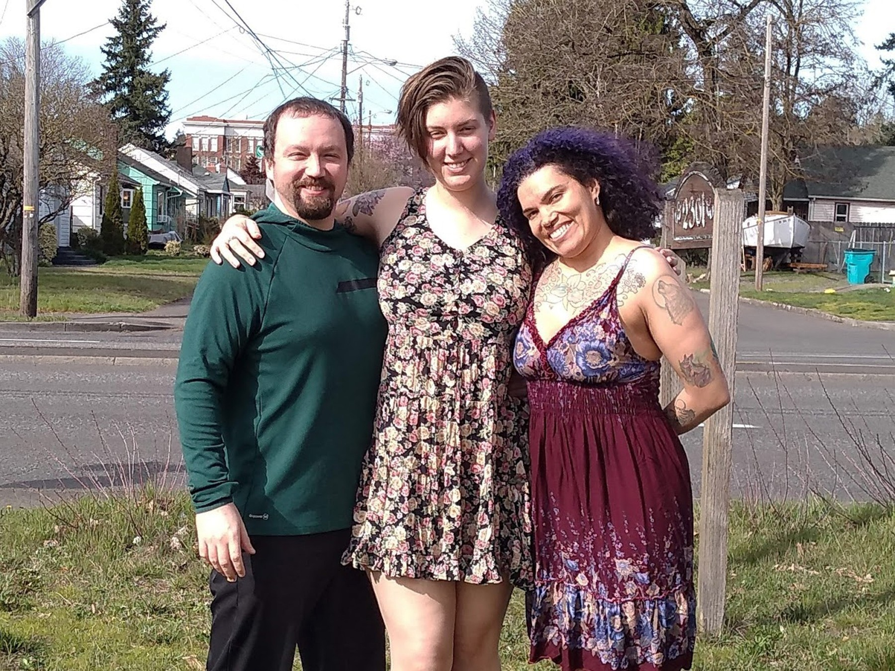 POLYAMOROUS WOMAN REVEALS HER AND HUBBY SLEEP WITH THEIR 'FIANCE' IN KING SIZE BED - IN PIC - (L-R) Anthony Miller, now 37, Ashley Welp, now 24, and Ava Miller, now 40, pictured in 2019. - A woman has revealed she is in a polyamorous relationship with her husband and 'fiancéâ. Ava Miller, 40, of Washington State, USA, had been married to husband, Anthony Miller, 37, for 16 years, until they decided to invite Ashley Welp, 24, into their marriage. Now the trio share a king-sized bed, and Ashley has become an 'aunt' to Ava and Anthony's two young sons. While some may find their marriage unconventional, Ava insists the polyamorous group have never felt happier.SEE HOTSPOT MEDIA COPY 0121 551 1004, Image: 440390435, License: Rights-managed, Restrictions: , Model Release: no, Credit line: HotSpot Media / HotSpot Media / Profimedia