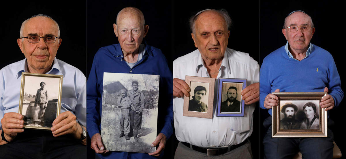 (COMBO) This combination of pictures created on January 11, 2020 shows (L to R) Holocaust survivor Menahem Haberman, 92, poses with a picture of himself after the war,  Holocaust survivor Danny Chanoch, 87, poses with a picture of him and his elder brother Uri after the war, Holocaust survivor Dov Landau, 91, shows pictures of his parents killed by the Nazis, Holocaust survivor Szmul Icek shows a picture of his parents killed by the Nazis, pose during a photo session. - Ahead of events marking the 75th anniversary of the liberation of Auschwitz, AFP has been speaking to the last survivors of the death camp. Originally from Europe, they spent part of their childhood in the notorious extermination camp before moving after World War II to Israel. (Photos by MENAHEM KAHANA / AFP)