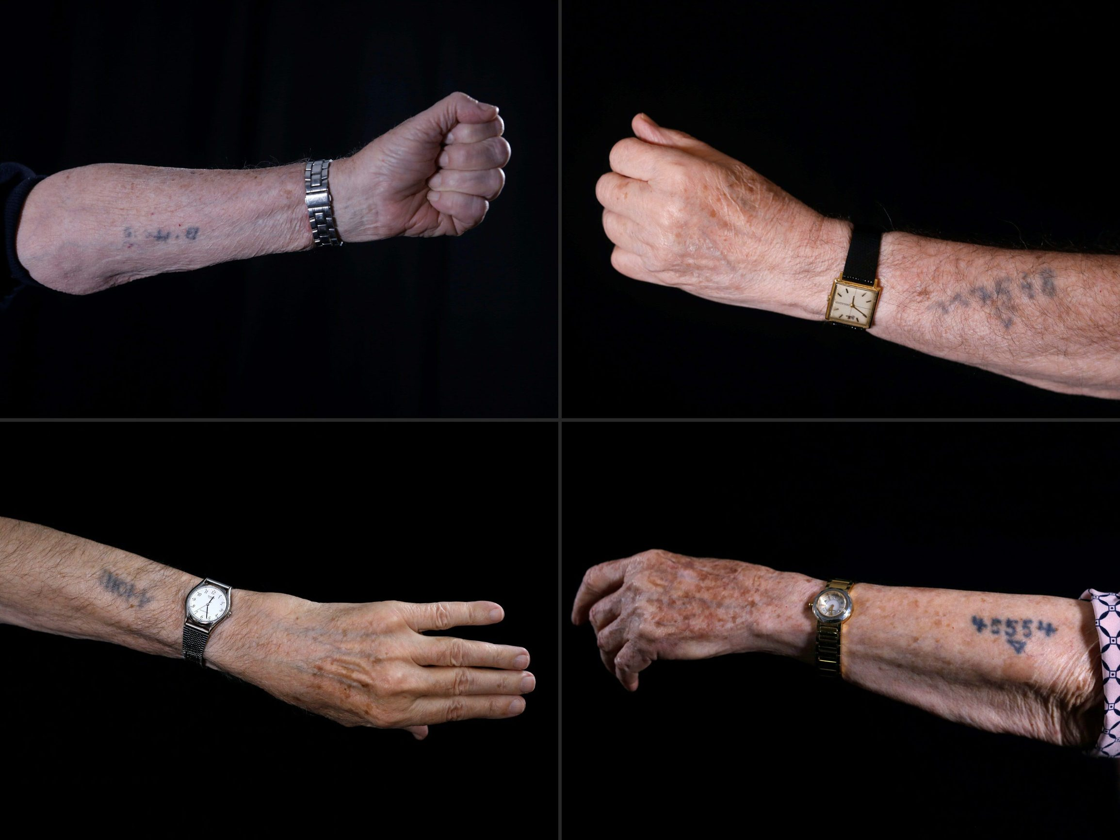 (COMBO) This combination of pictures created on January 11, 2020 shows Holocaust survivor Avraham Gershon Binet (Top-L), 81, shows his arm with the Auschwitz prison number 14005, Holocaust survivor Szmul Icek (top-R) shows his Auschwitz prison number 117568 on his arm, Holocaust survivor Menahem Haberman (bottom-L), 92, shows his arm with the Auschwitz prison number A10011, and Holocaust survivor Batcheva Dagan (bottom-R), whose entire family was killed, shows her arm with the Auschwitz prison number 45554, during a photo session. - Ahead of events marking the 75th anniversary of the liberation of Auschwitz, AFP has been speaking to the last survivors of the death camp. Originally from Europe, they spent part of their childhood in the notorious extermination camp before moving after World War II to Israel. (Photos by MENAHEM KAHANA / AFP)
