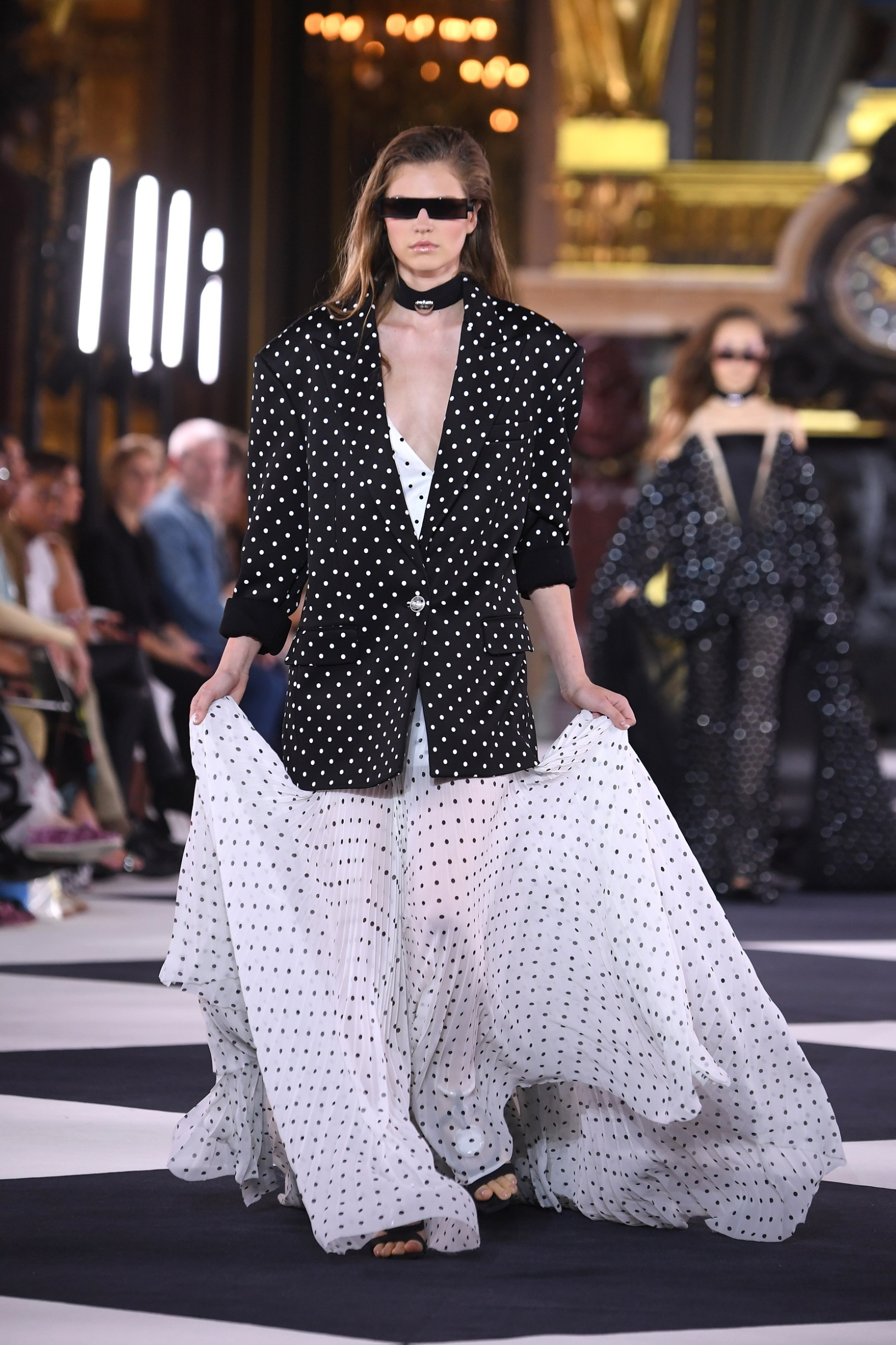 PARIS, FRANCE - SEPTEMBER 27: A model walks the runway during the Balmain Womenswear Spring/Summer 2020 show as part of Paris Fashion Week on September 27, 2019 in Paris, France. (Photo by Pascal Le Segretain/Getty Images)