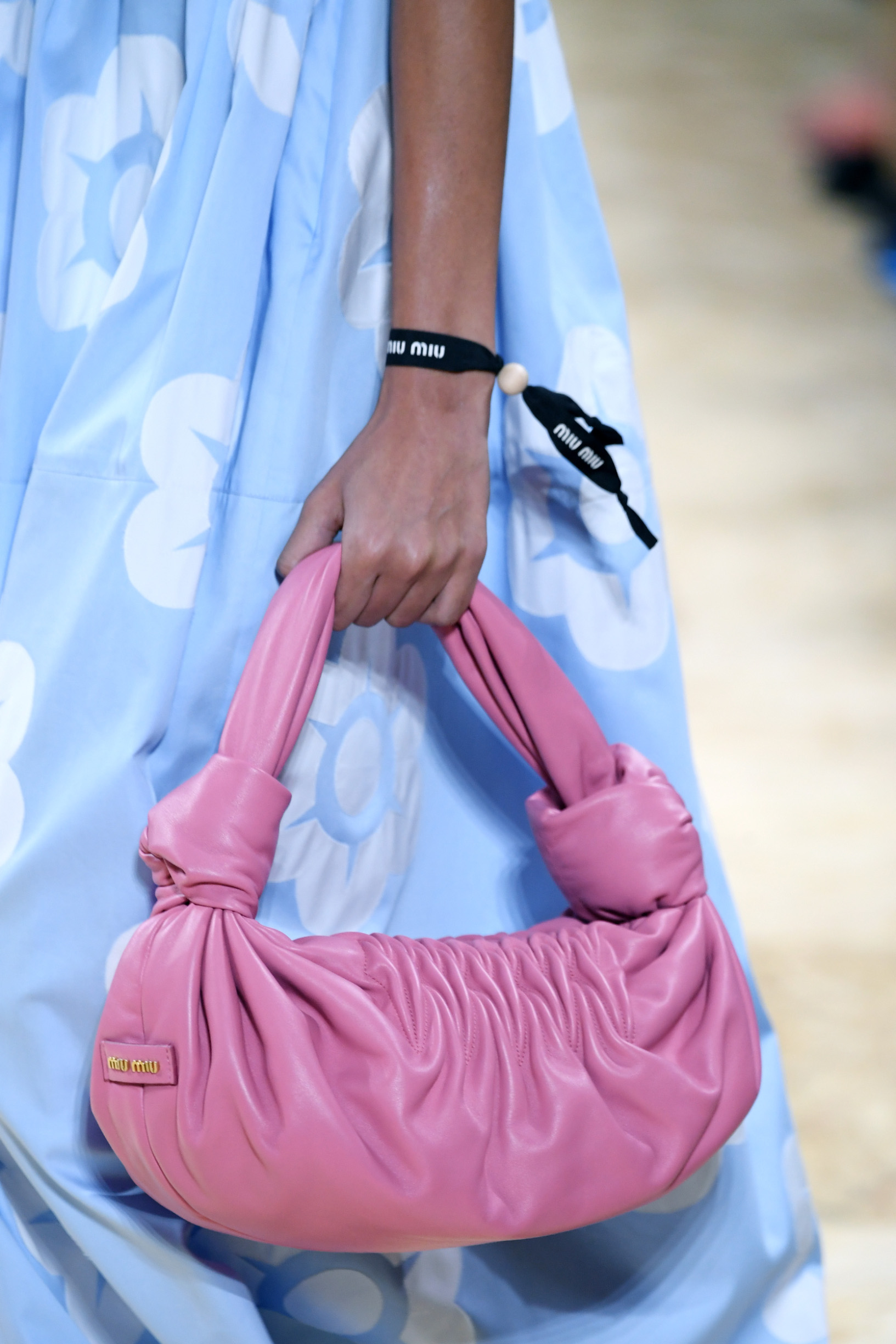 PARIS, FRANCE - OCTOBER 01: A model, bag detail, walks the runway during the Miu Miu Womenswear Spring/Summer 2020 show as part of Paris Fashion Week on October 01, 2019 in Paris, France. (Photo by Pascal Le Segretain/Getty Images)