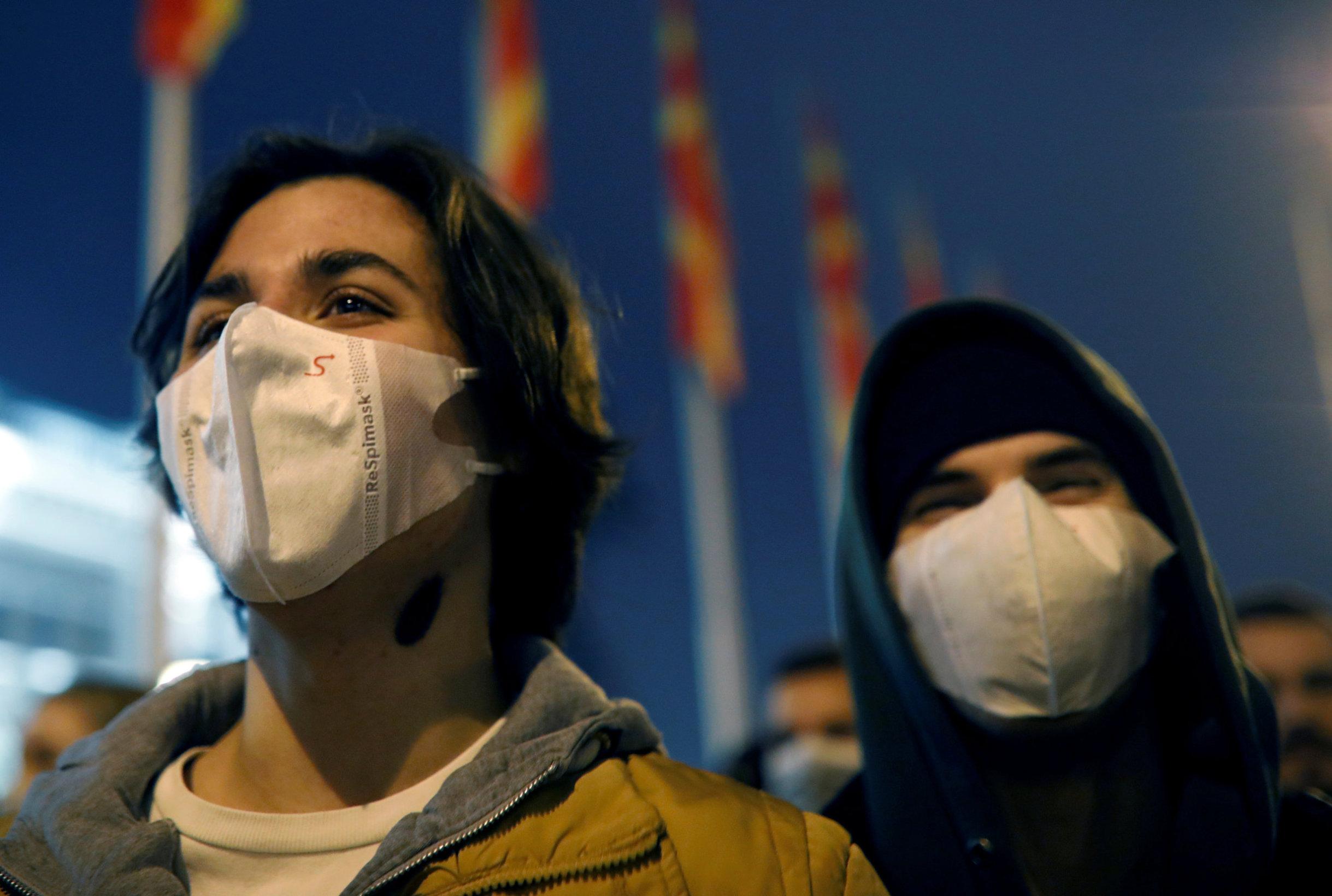 Prosvjedi protiv zagađenja ispred vladine zgrade u Skoplju, 20. prosinac 2019.