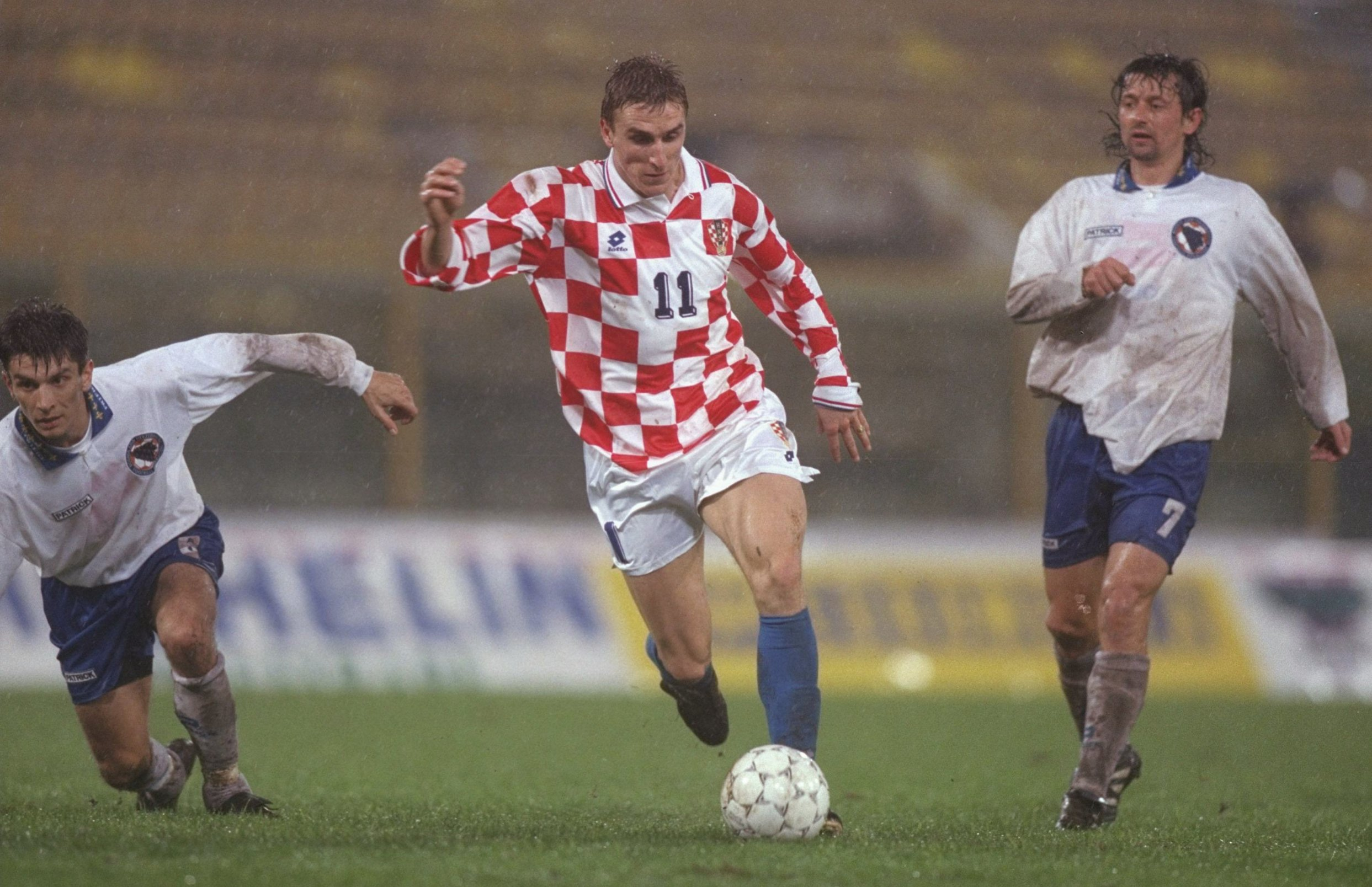 8 Oct 1996:  Alen Boksic of Croatia (centre) makes a run for goal during the world cup qualifier between Bosnia Herzogovina and Croatia in Bosnia. Croatia went onto defeat Bosnia by 1-4. Mandatory Credit: Mark Thompson/Allsport