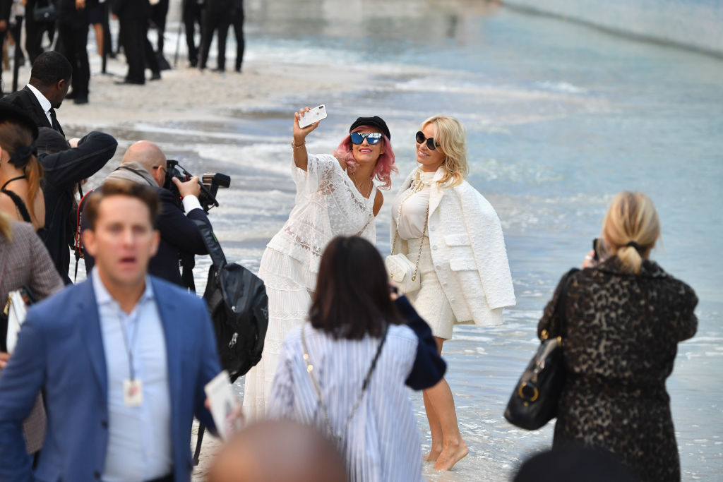 PARIS, FRANCE - OCTOBER 02:  Pamela Anderson walks the runway after the Chanel show as part of the Paris Fashion Week Womenswear Spring/Summer 2019 on October 2, 2018 in Paris, France.  (Photo by Pascal Le Segretain/Getty Images)