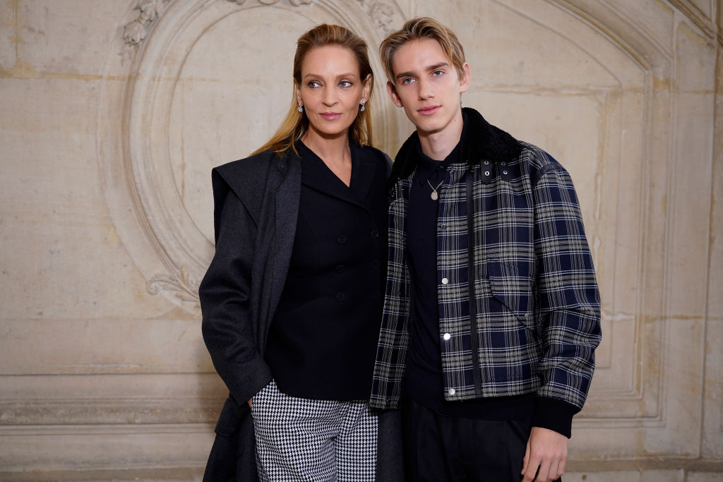 PARIS, FRANCE - JANUARY 20: Uma Thurman and Levon Thurman Hawke attend the Dior Haute Couture Spring/Summer 2020 show as part of Paris Fashion Week on January 20, 2020 in Paris, France. (Photo by Francois Durand/Getty Images)