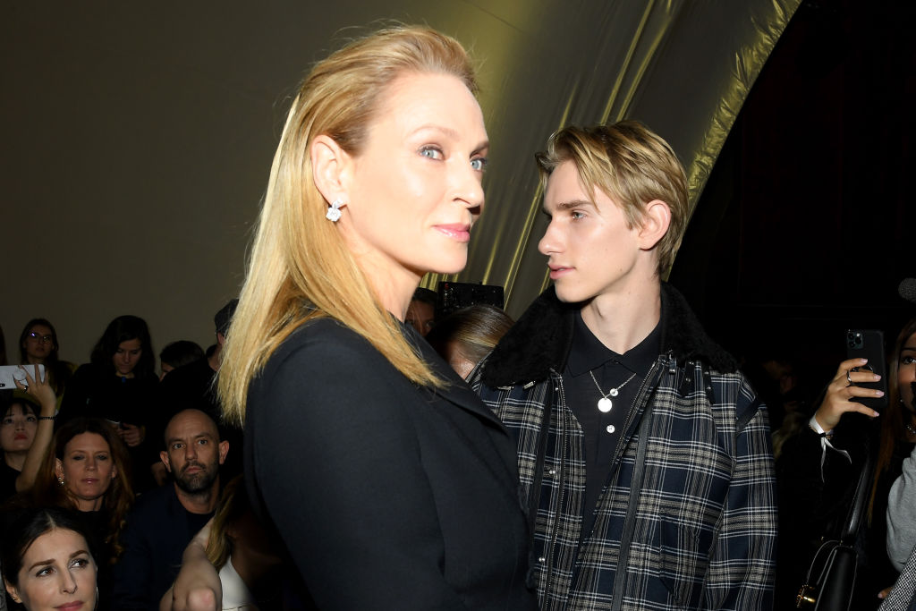 PARIS, FRANCE - JANUARY 20: Uma Thurman and her son Levon Roan Thurman-Hawke  attends the Dior Haute Couture Spring/Summer 2020 show as part of Paris Fashion Week on January 20, 2020 in Paris, France. (Photo by Pascal Le Segretain/Getty Images)