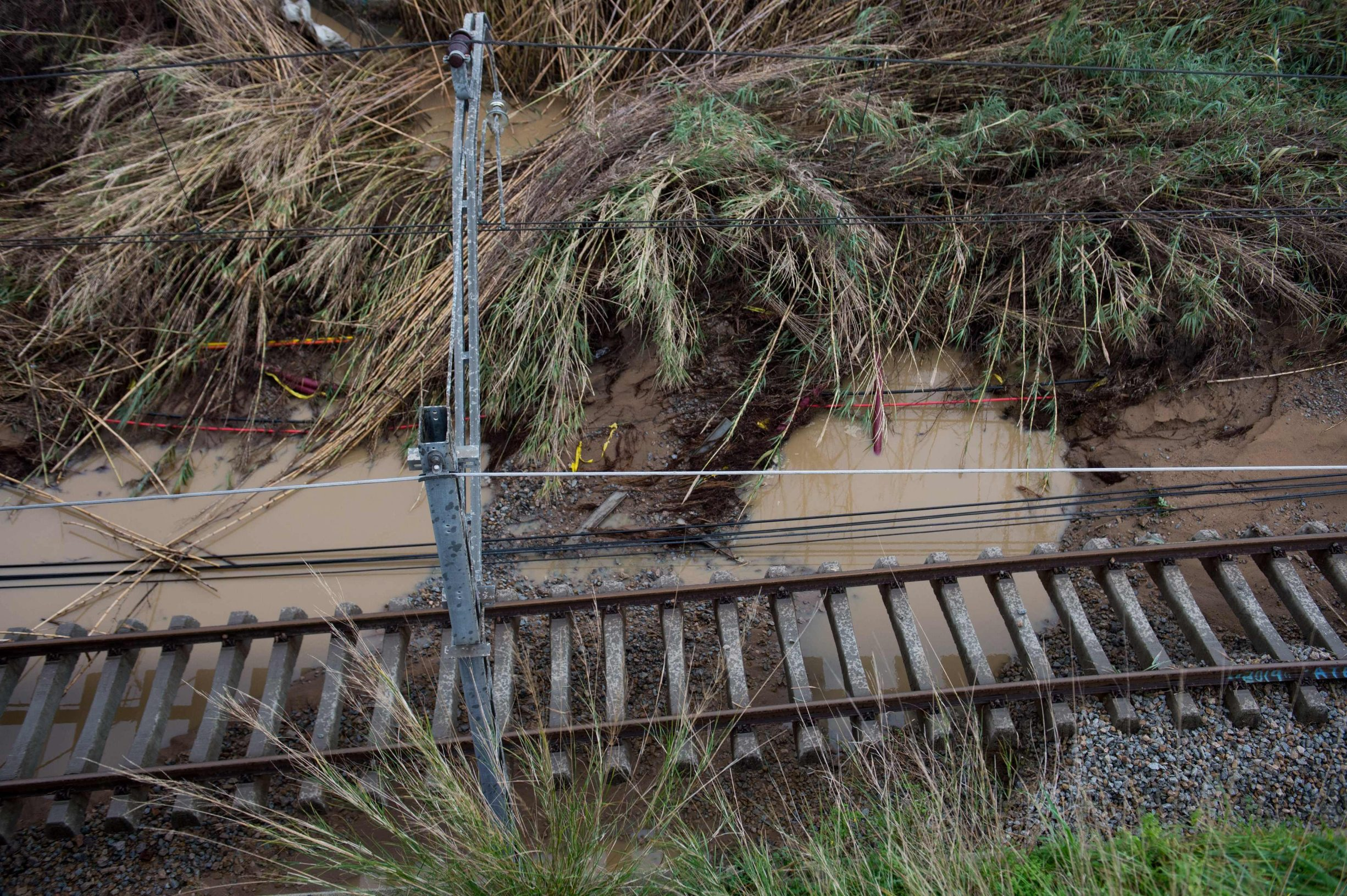 Flooded train tracks are pictured in Malgrat de Mar, near Girona on January 22, 2020, as storm Gloria batters Spanish eastern coast. - A winter storm which has killed three people lashed much of eastern Spain for a third day yesterday, cutting power, forcing the closure of schools and severing road and rail links. National weather agency Aemet placed most of northeastern Spain on alert because of the storm packing gusts of over 100 kilometres (60 miles) per hour, heavy snowfall, freezing rain and massive waves which smashed into seafront promenades, damaging shops and restaurants. (Photo by Josep LAGO / AFP)
