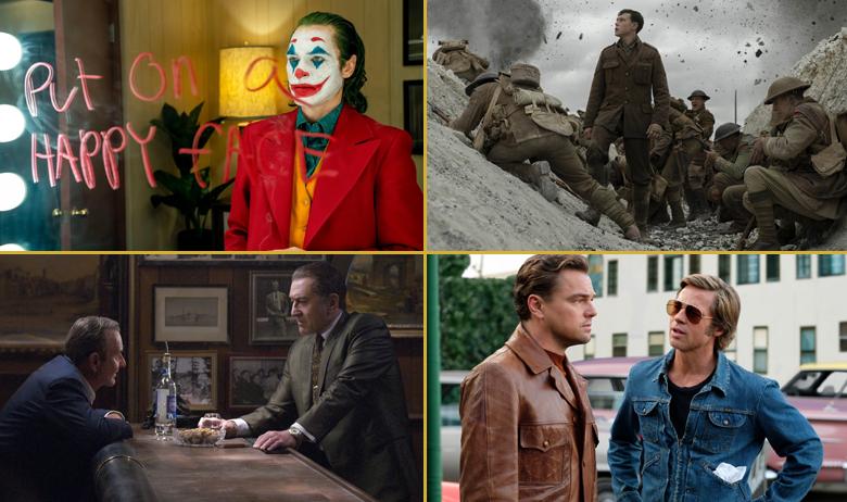 U smjeru kazaljke na satu: Joker; 1917; Bilo jednom u... Hollywoodu; Irac