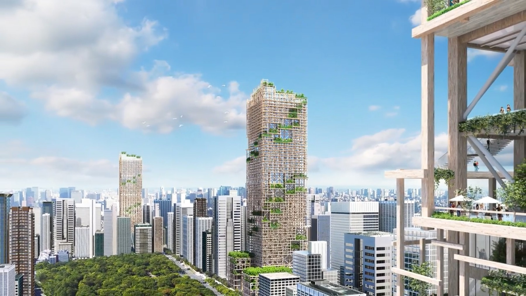 """Ferrari Press Agency                                                                      Ref 8930  Wooden 1  15/02/2017 See Ferrari text Picture MUST credit : Sumitomo Forestry Co  A skyscraper made of WOOD is to be built in Japan.When completed, it will be the world's tallest wooden building at a tower 350 metres / 1,148 feet .Although the cost of building will be double the construction of a conventional tower, the long term benefits will make it cheaper to run and recoup money.When maintenance is required, old wood can be taken away and recycle.Timber and forest management Sumitomo Forestry part of one of Japan's largest business conglomerate, plans to complete the W350 Project in 2041 to mark its 350th anniversary.The ultimate aim, the company said, is to create an environment-friendly city of high-rise buildings made of wood that also helps to """"transform the town into a forest"""".The completed tower will house shops, offices, a hotel and residential units, while the designers' sketches show broad balconies covered with greenery, a garden roof, soaring internal open spaces and water features.When completed, the W350 Project will be both  the tallest building in Japan and tallest wooden structure in the world.The record for the tallest primarily wood en building in the world is presently held by Brock Commons Tallwood House, a 53 metre/ 174-foot-high student accommodation at the University of British Columbia in Vancouver.Japanese regulations have previously made it difficult for designers to use wood in residential or commercial-use properties.The concept for the building has been drawn up by Sumitomo's Tsukuba Research Laboratory, which has devised a plan for a skyscraper with 70 stories above ground and made of a combination of wood and steel, with wood accounting for 90 percent of the construction material.The tower will require more than 184,000 cubic metres /  6.5 million cubic feet of wood.The cost of the project has been estimated at Y600 billion Yen / £4."""