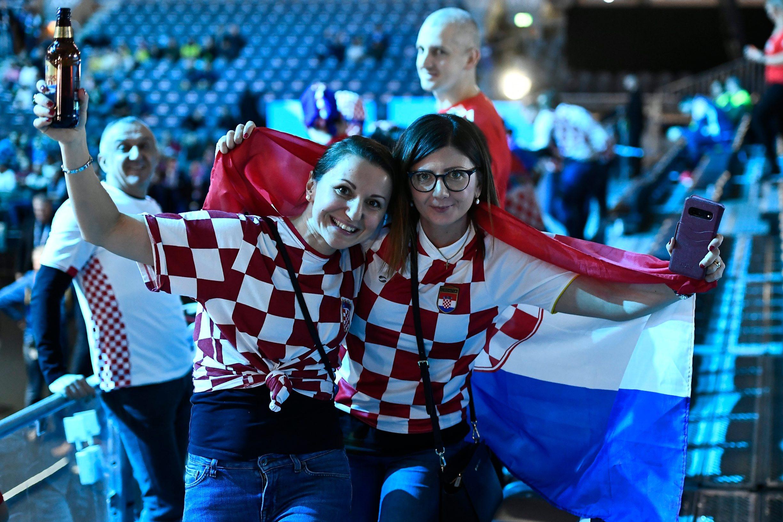 Stockholm, 260120.  Tele2 Arena. Navijaci na utakmici finala Europskog rukometnog prvenstva izmedju Hrvatske i Spanjolske. Foto: Ante Cizmic / CROPIX
