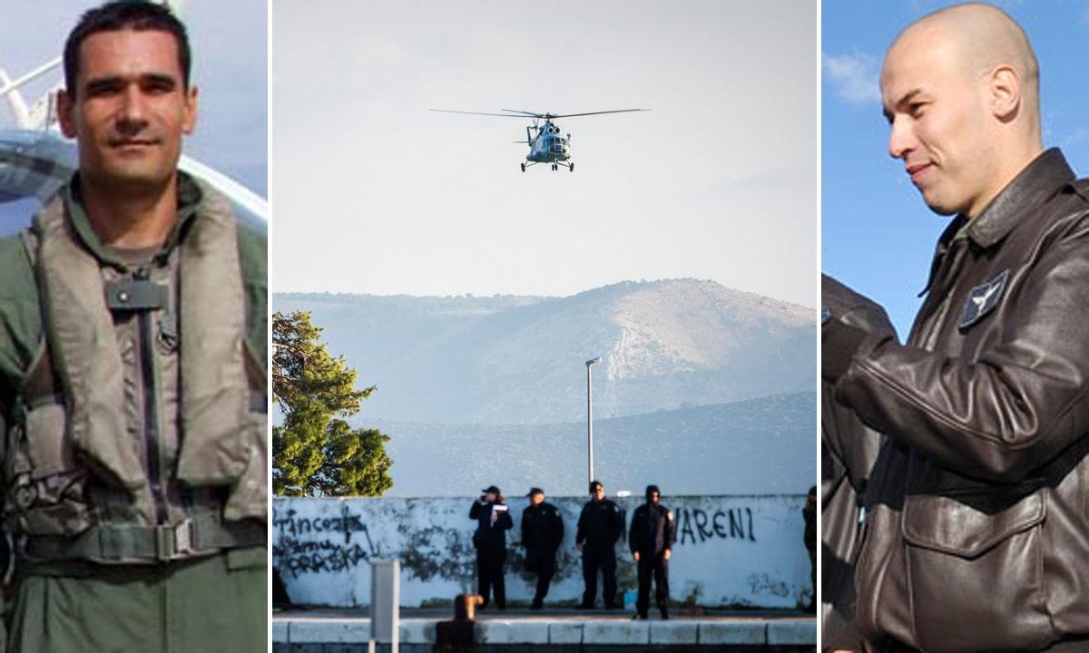 Marin Klarin (lijevo), Tomislav Baturina (desno), helikopter u potrazi za Baturinom (u sredini)
