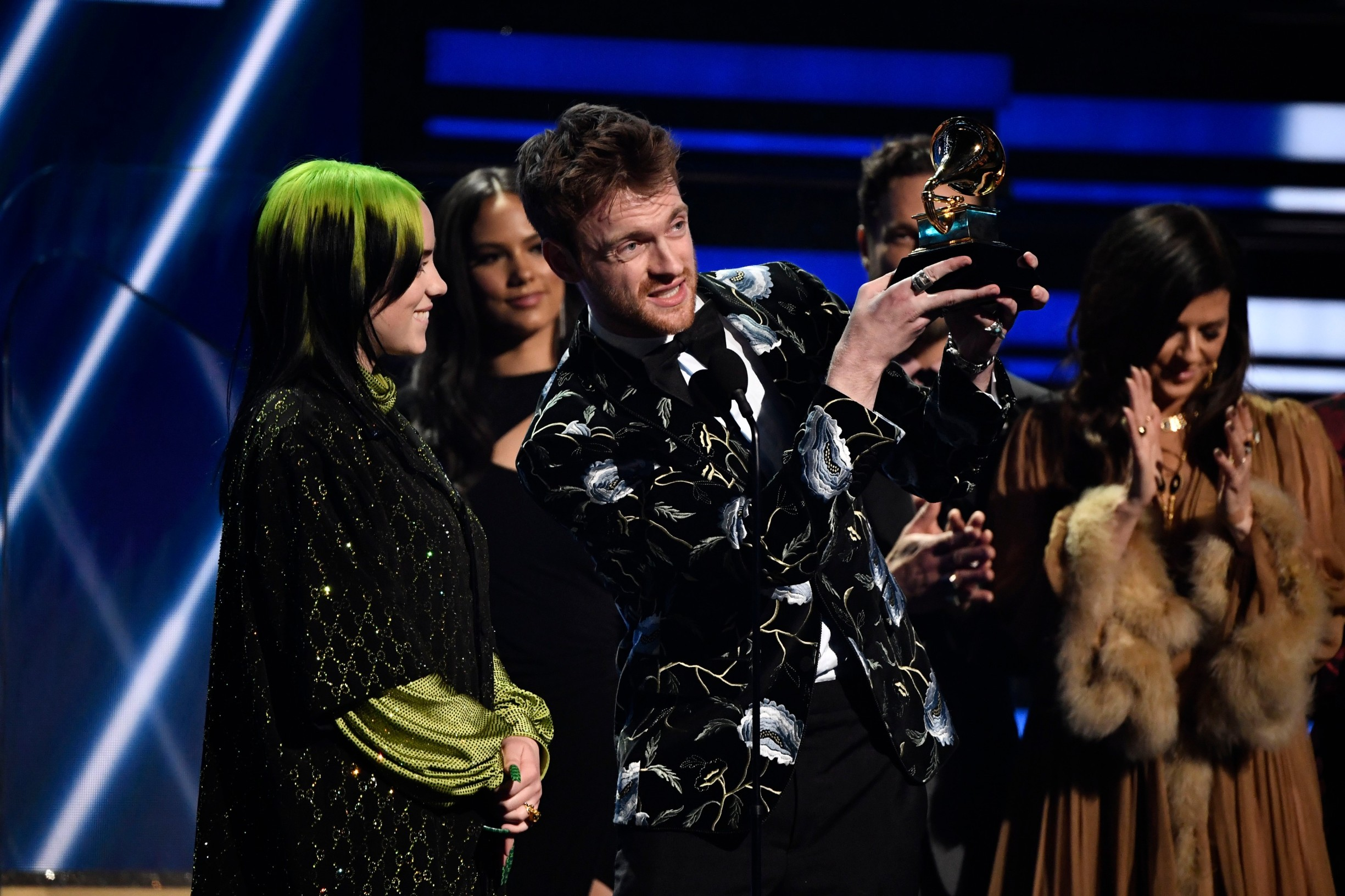 Jan 26, 2020; Los Angeles, CA, USA; Finneas O'Connell (right) and Billie Eilish accept the award for song of the year during the 62nd annual GRAMMY Awards on Jan. 26, 2020 at the STAPLES Center in Los Angeles, Calif., Image: 494965934, License: Rights-managed, Restrictions: *** World Rights ***, Model Release: no, Credit line: USA TODAY Network / ddp USA / Profimedia